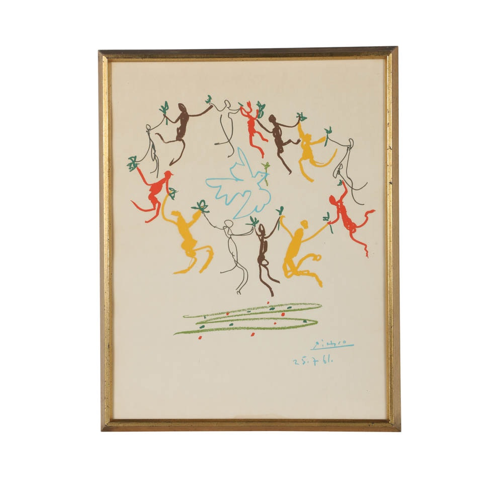 """Serigraph on Paper """"The Youth Dancers"""" After Pablo Picasso"""