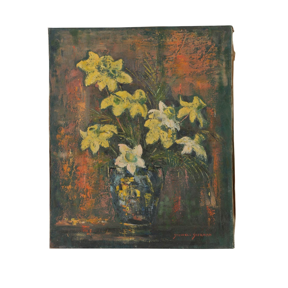 Stowell Sherman Oil Painting on Canvas Floral Still Life