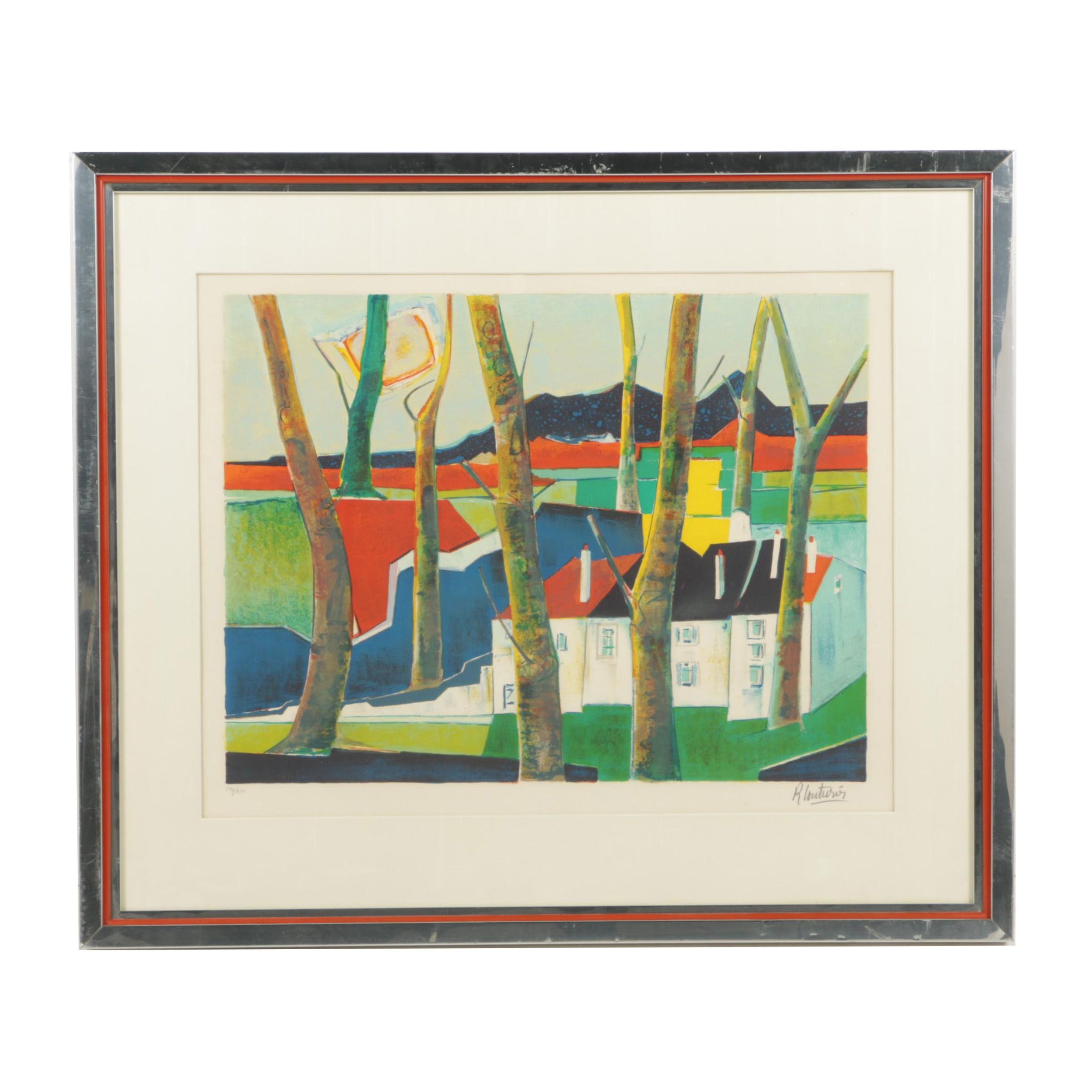 Rene Couturier Limited Edition Lithograph of Suburban Scene