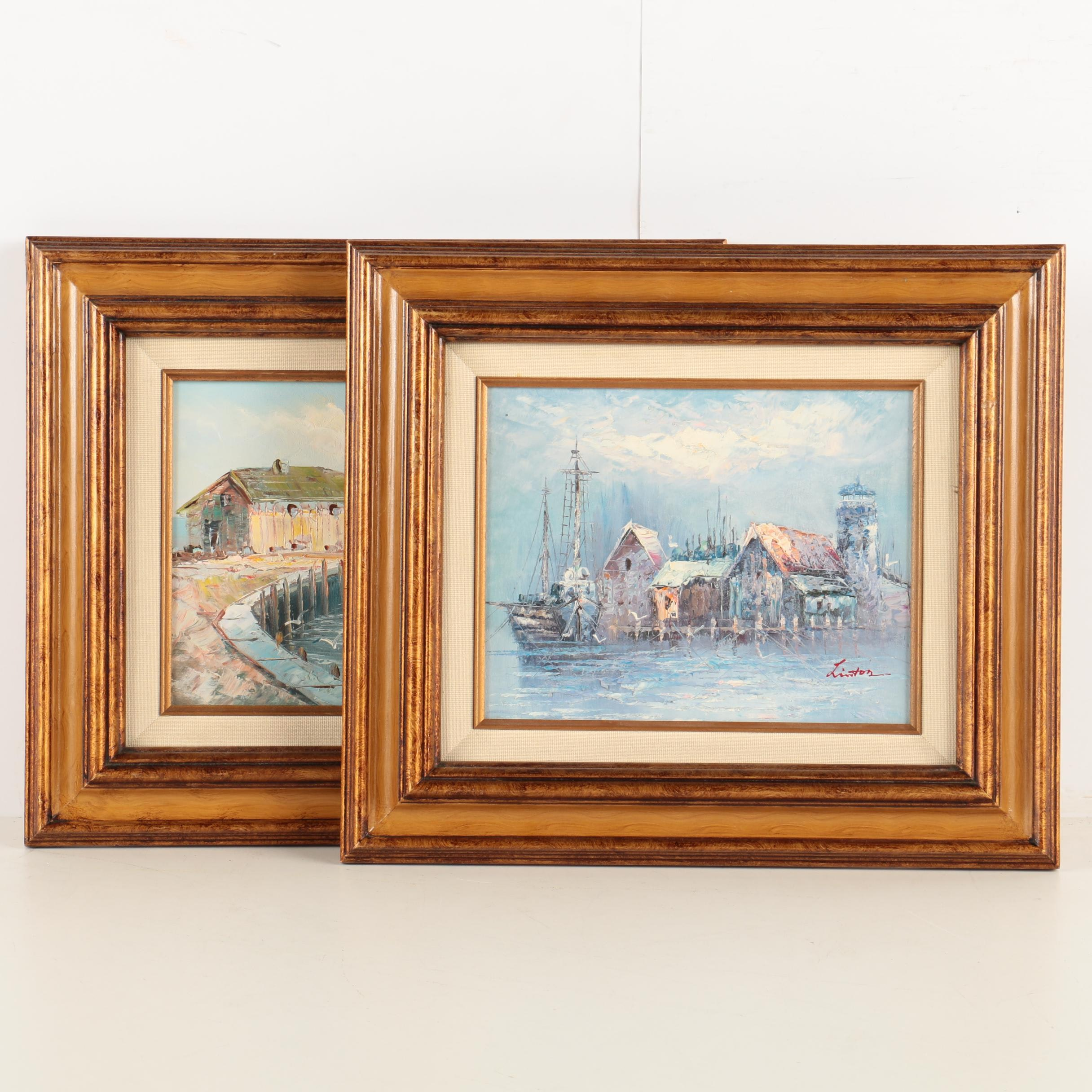W. Sherman and Linton Oil Paintings on Canvas of Harbors