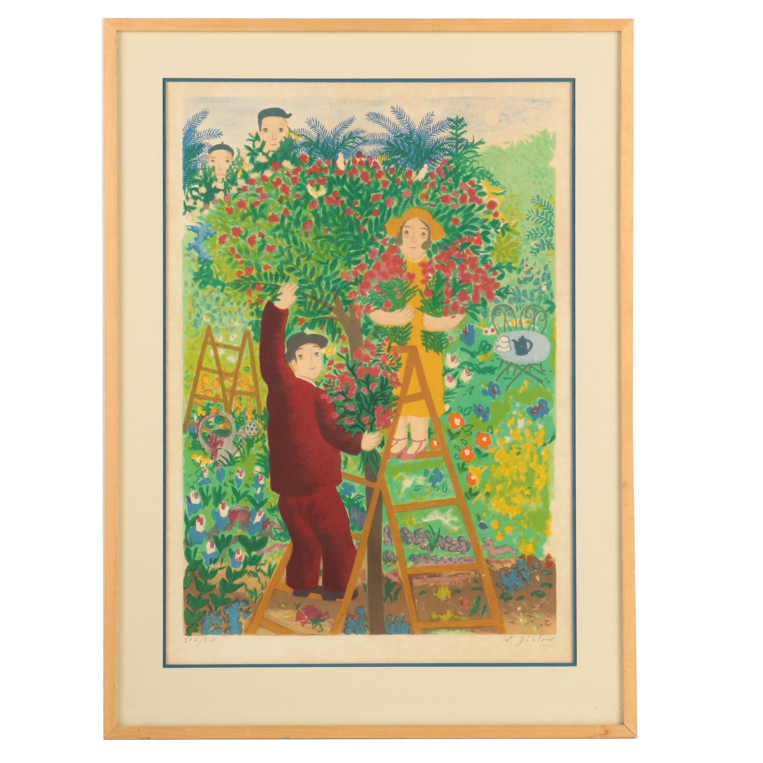 Lennart Jirlow Limited Edition Lithograph of Flower-Pickers
