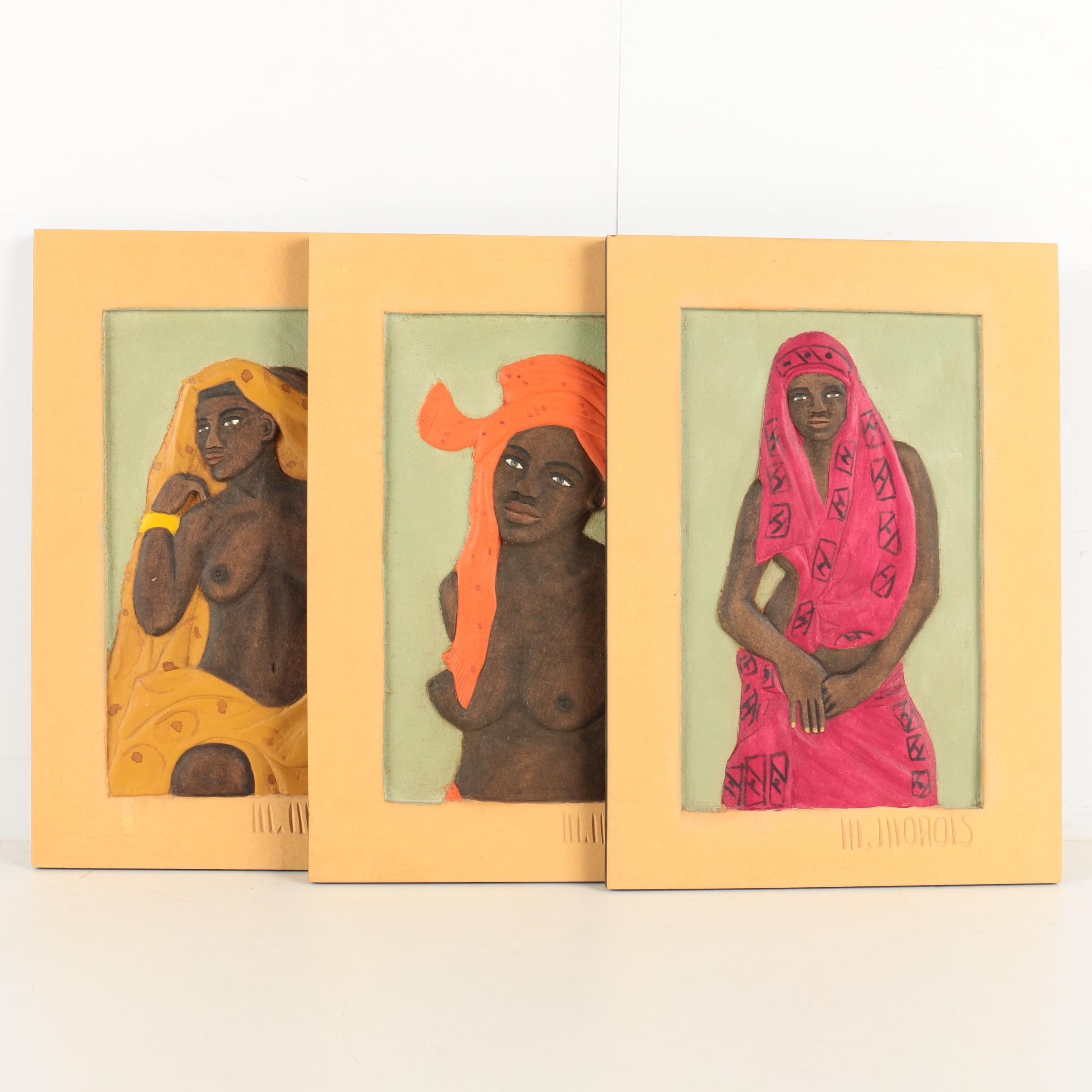 M. Morois Carved and Painted Wood Panels of African Women