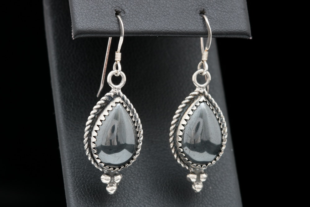 Sterling Silver and Faux Hematite Dangle Earrings