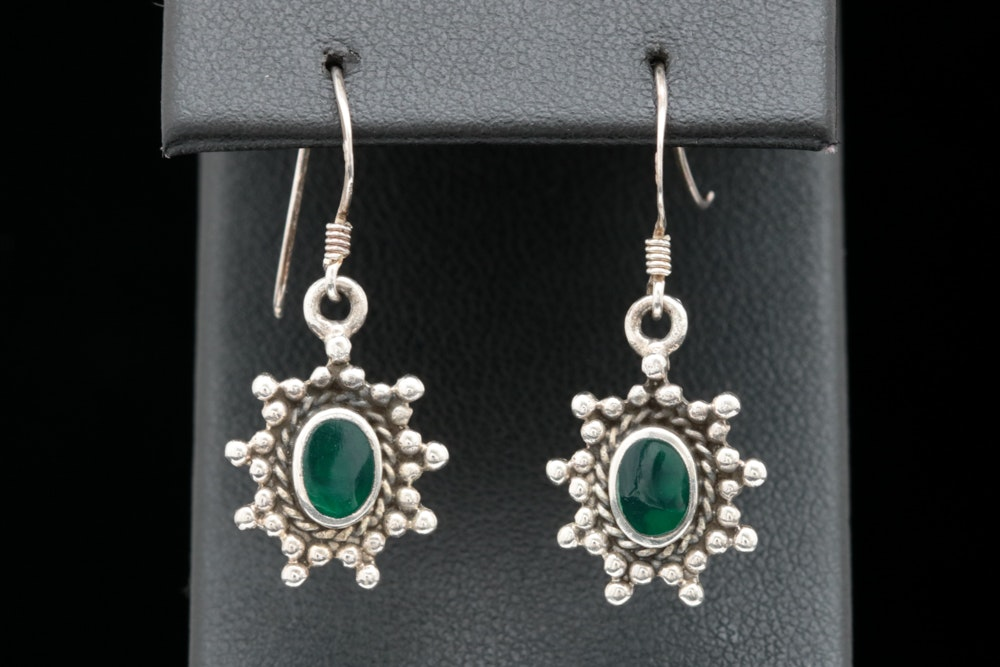 Sterling Silver and Green Resin Dangle Earrings