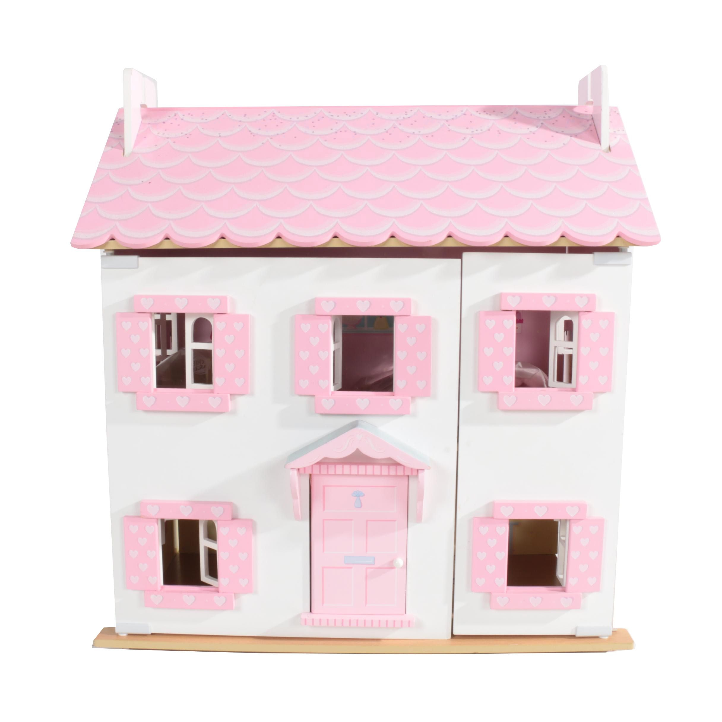 Pink and White Doll House with Accessories