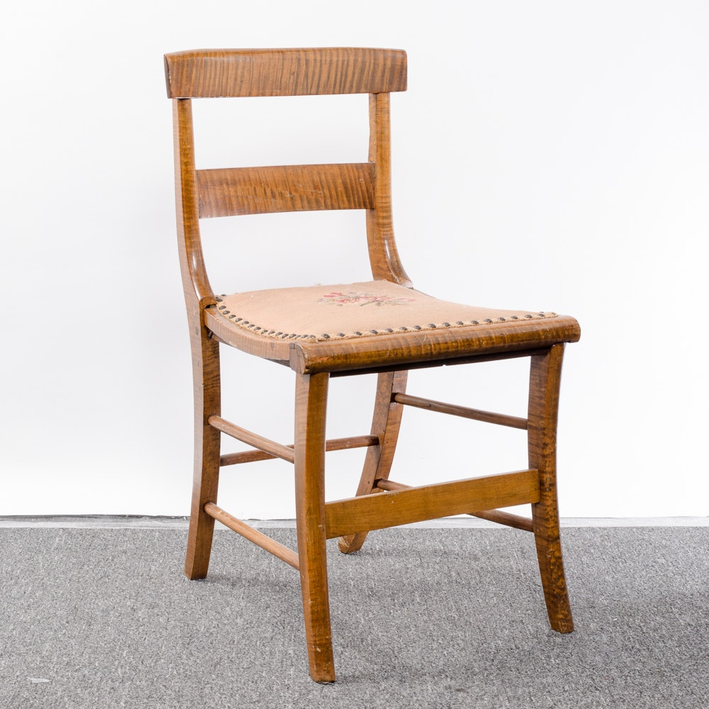 Vintage Zebra Wood Chair with Needlepoint Seat