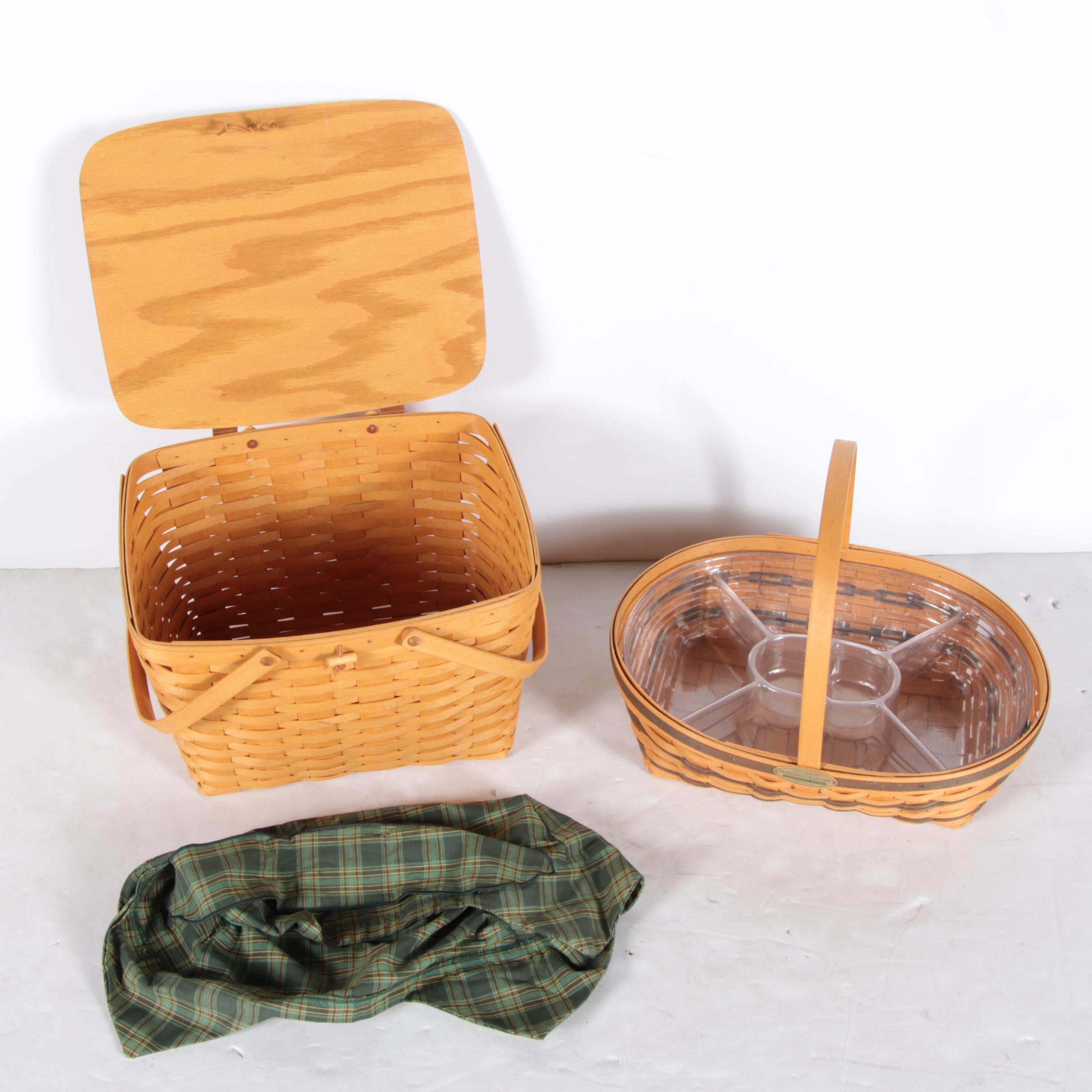 """Lidded Picnic Basket and Longaberger """"Hospitality Basket"""""""