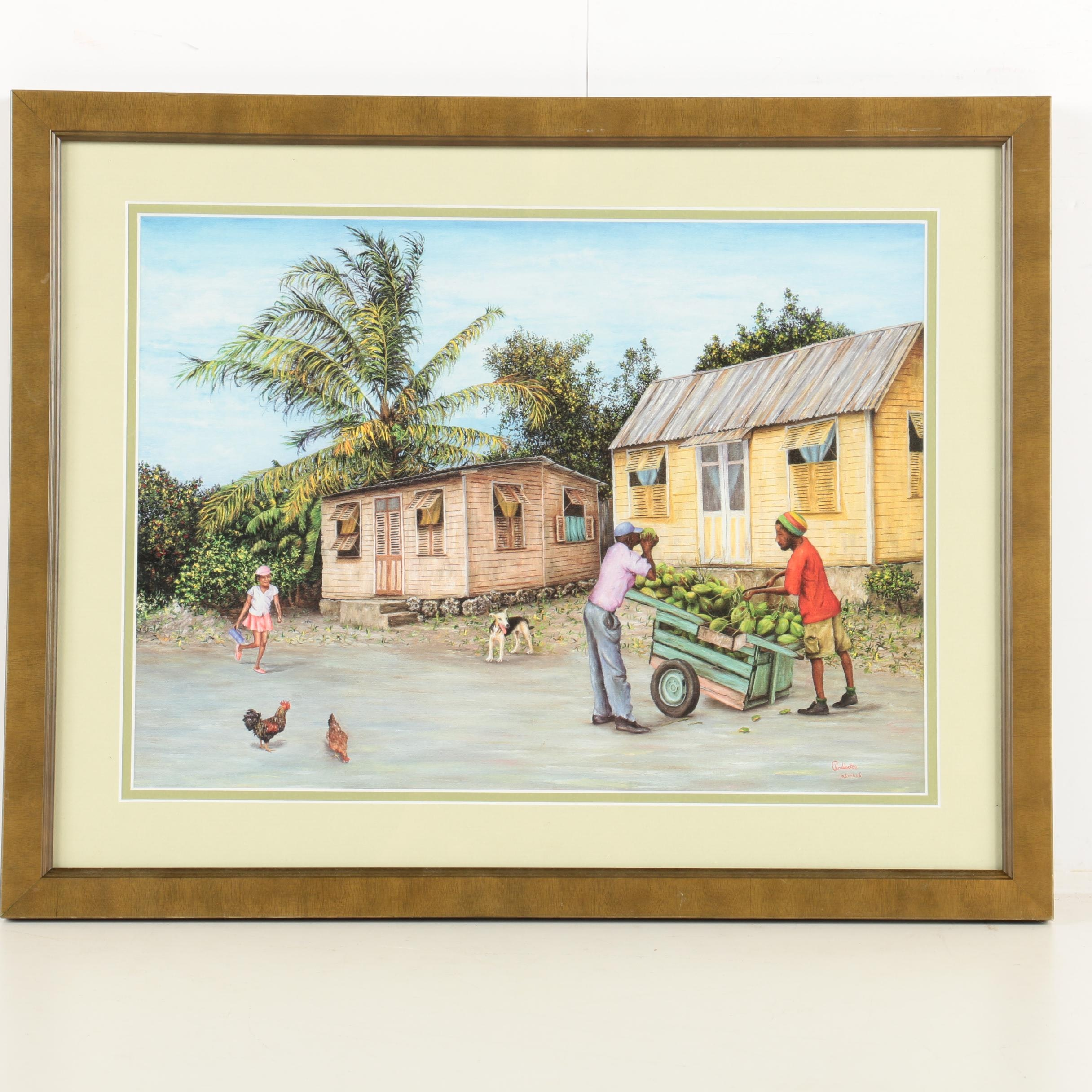 Signed Offset Lithograph on Paper of a Caribbean Domestic Scene