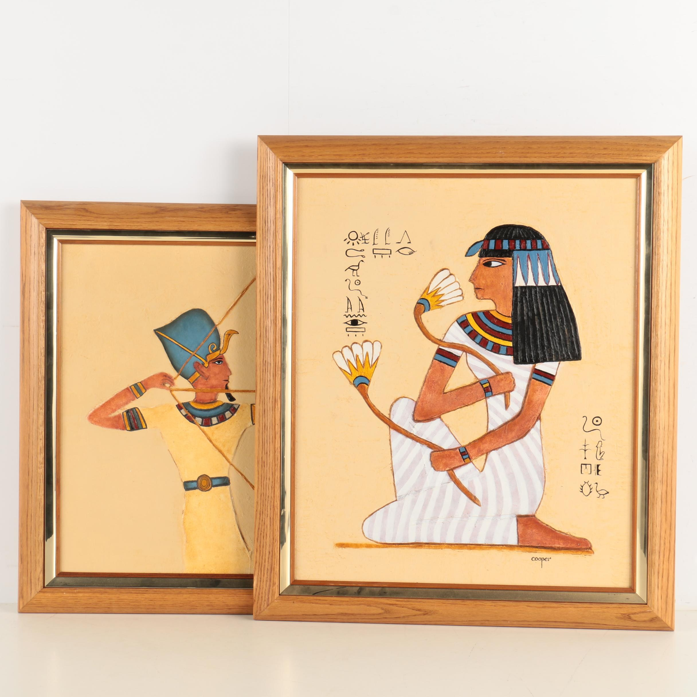 Signed Acrylic on Canvas Painting of Egyptian Inspired Subjects