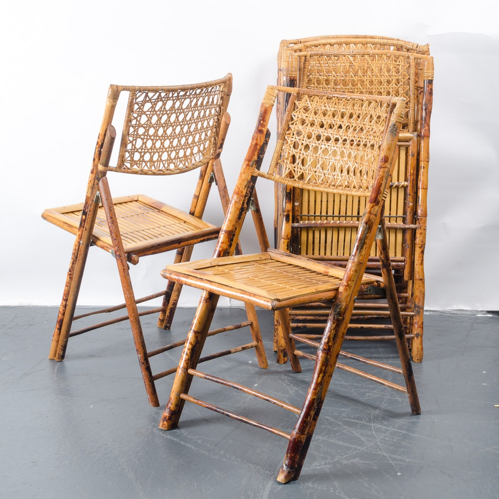 Six Folding Bamboo Chairs