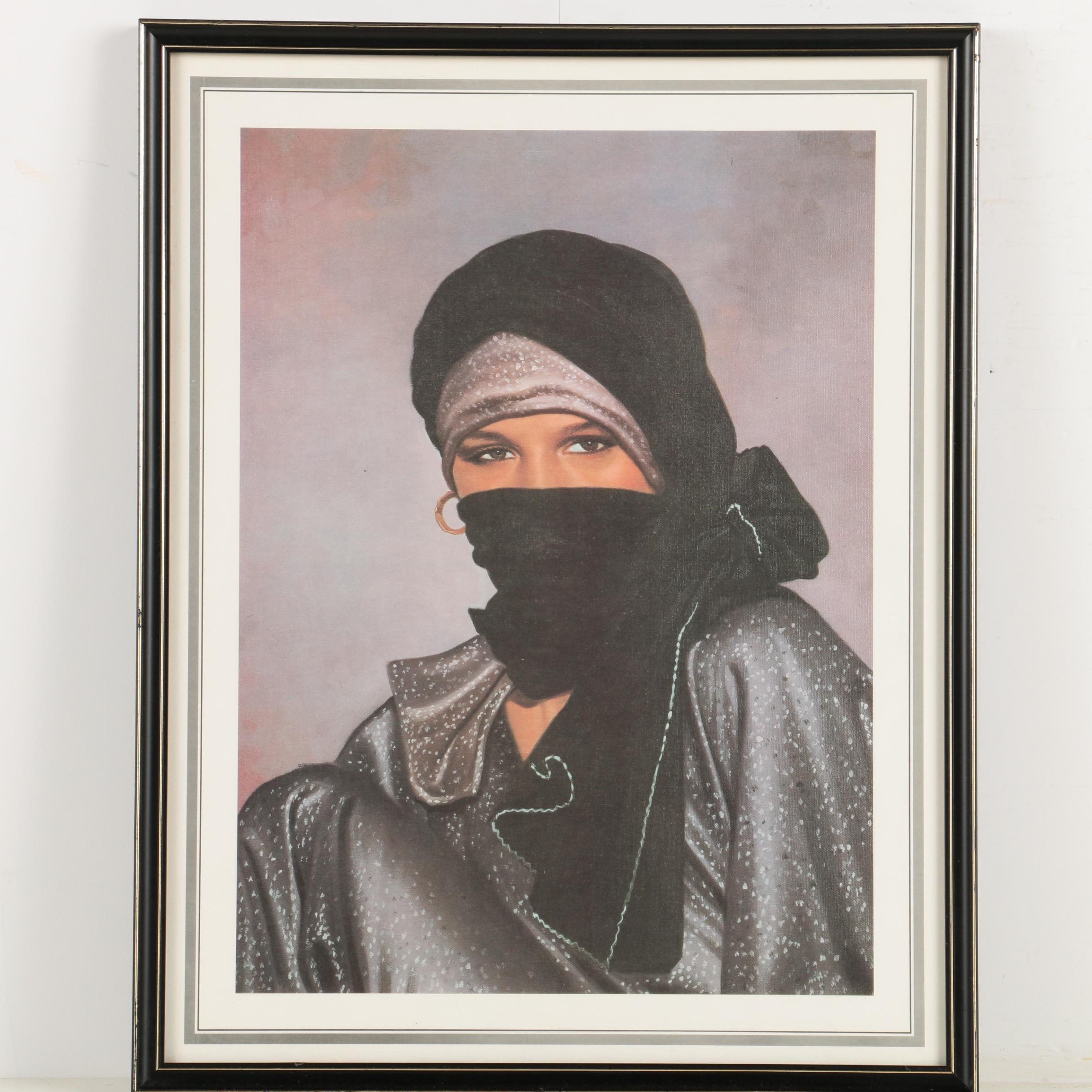 Offset Lithograph on Canvas Board of a Veiled Woman