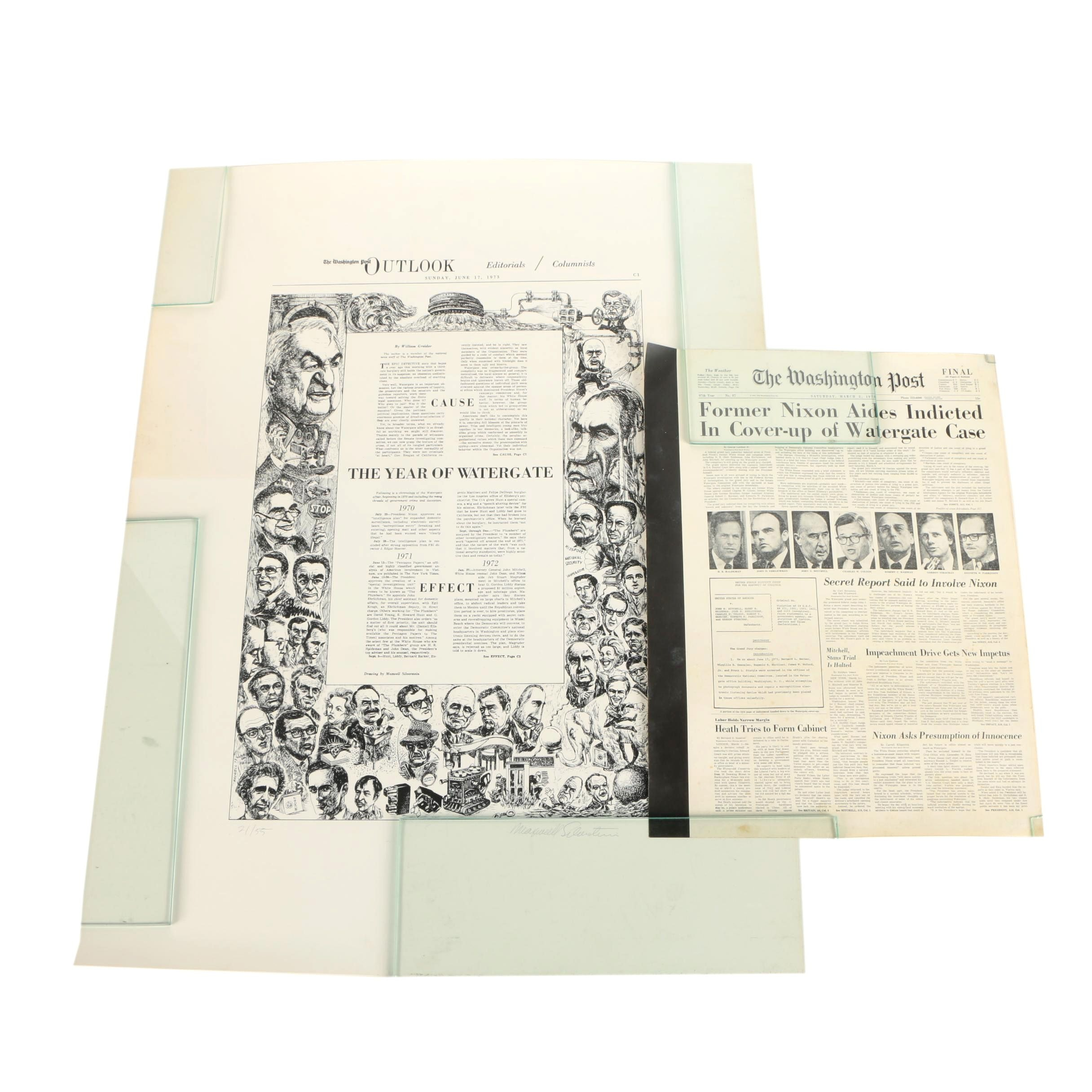 Watergate Scandal Press Prints Including Maxwell Silverstein Signed Lithograph