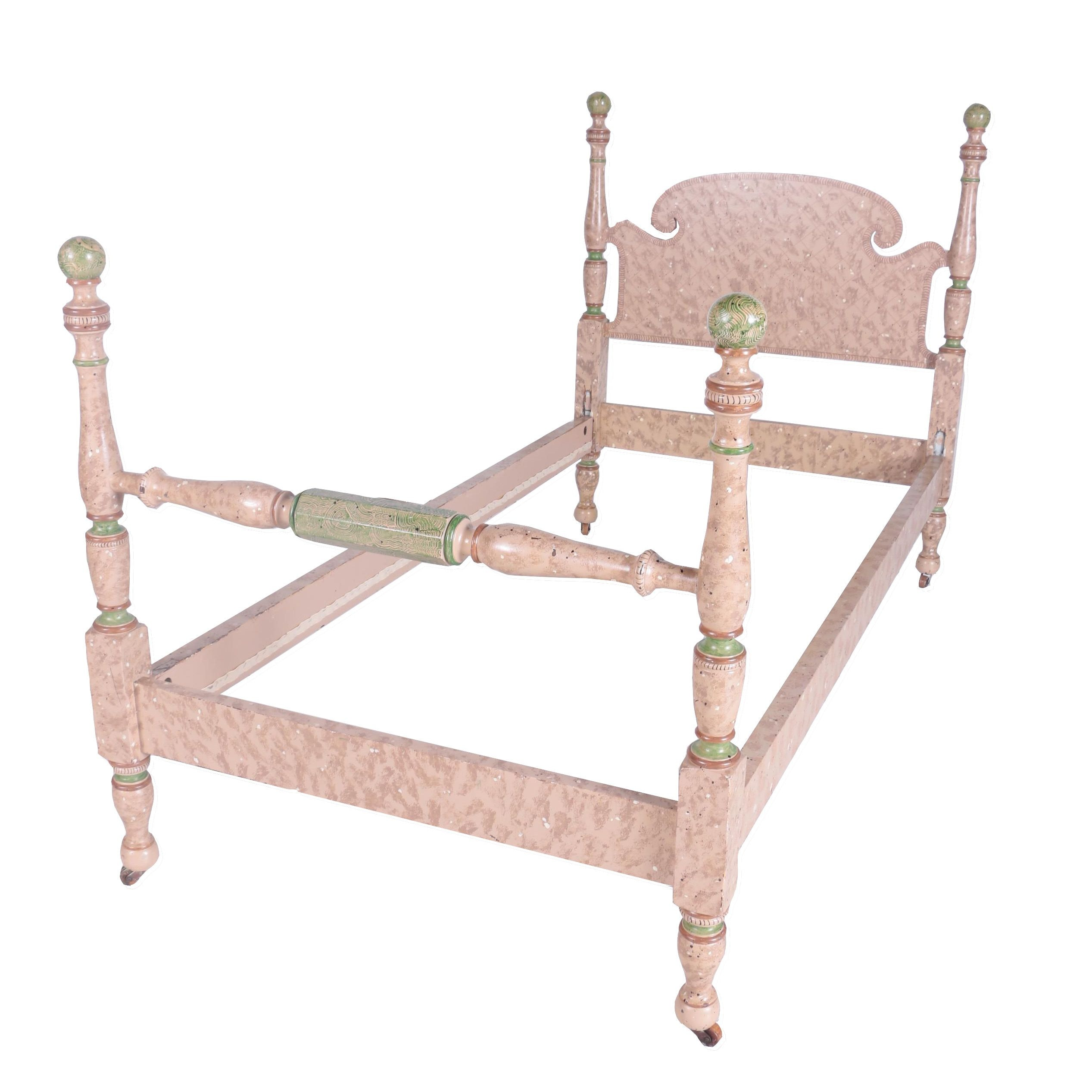 Hand Painted Twin Wood Bed Frame and Quilt Rack