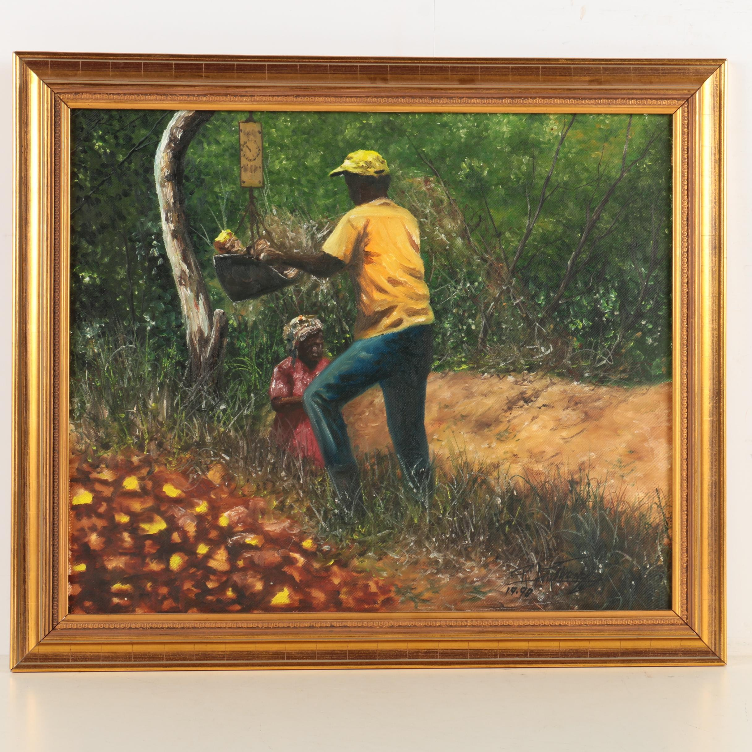 R. Armstrong Oil Painting on Canvas of Workers