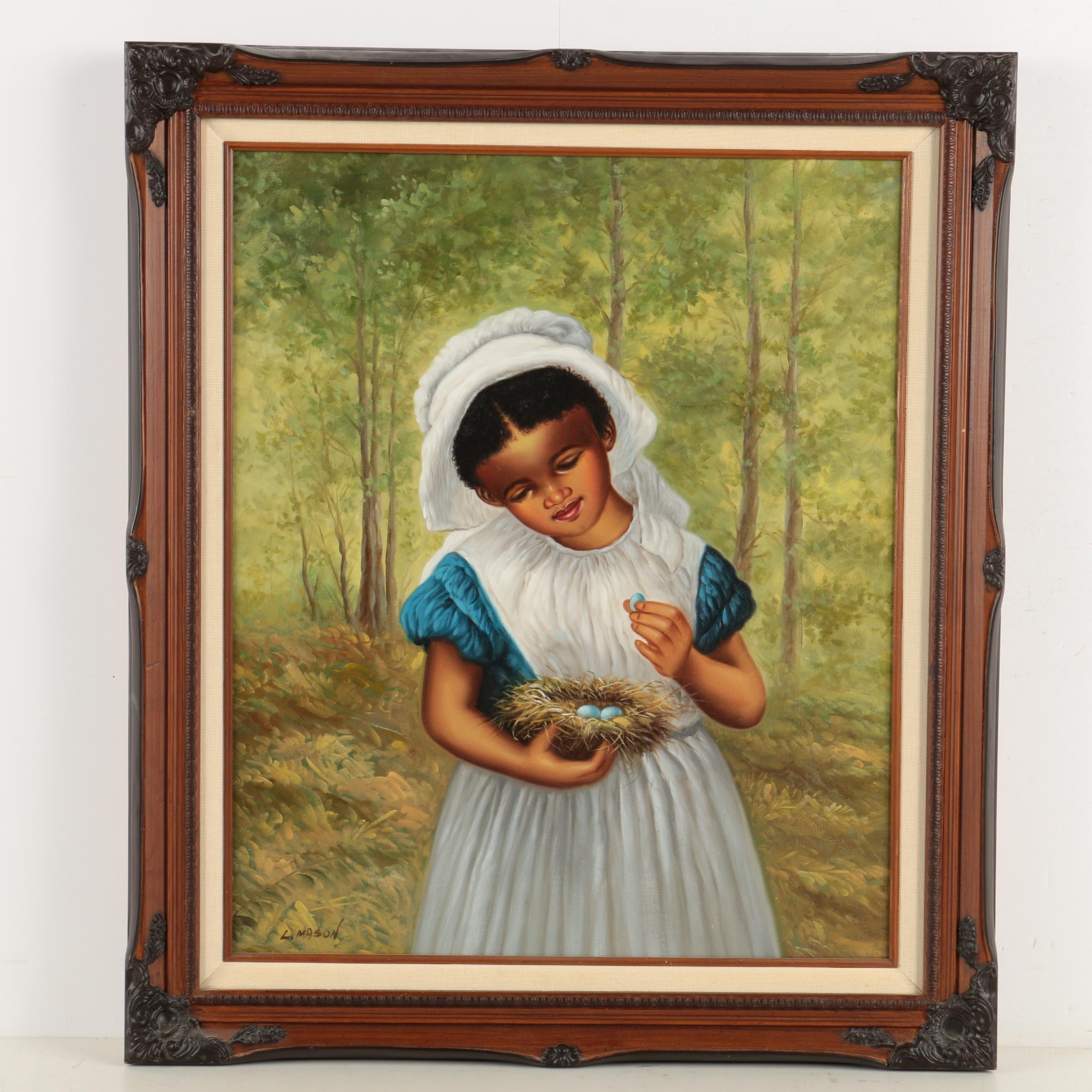 L. Mason Oil Painting of a Little Girl with a Bird's Nest