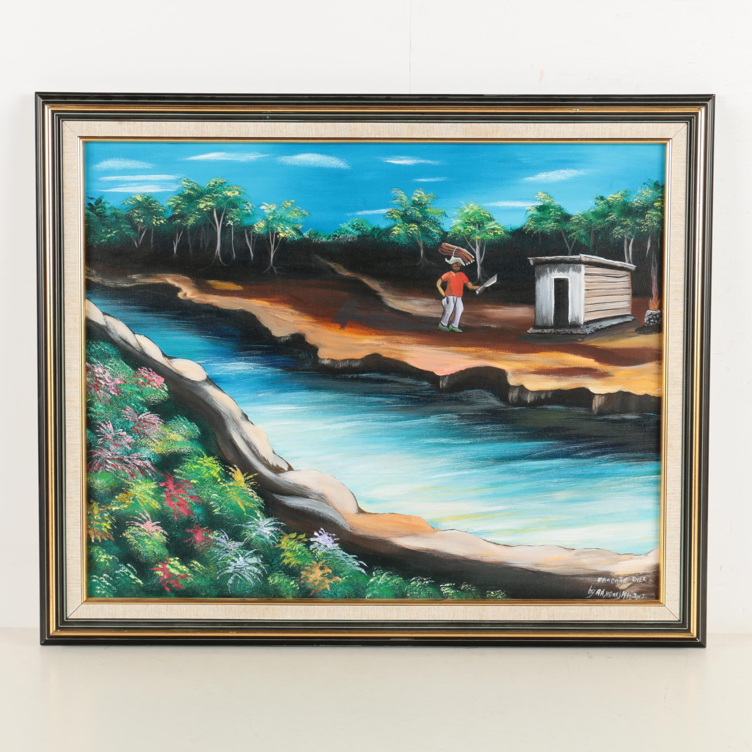 "A. A. Nenky 1992 Oil Painting on Canvas of Jamaican Landscape ""Man on the River"""