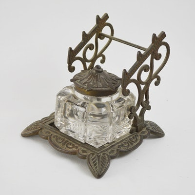 Image result for victorian brass ink pen holder
