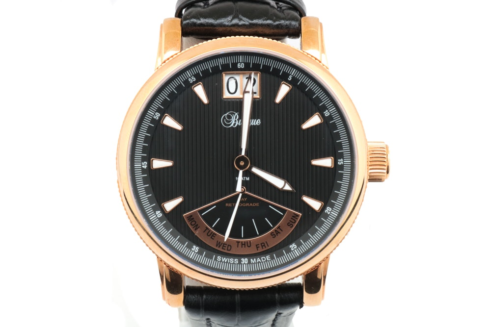 Burque Rose Gold Toned Stainless Steel and Leather Wristwatch