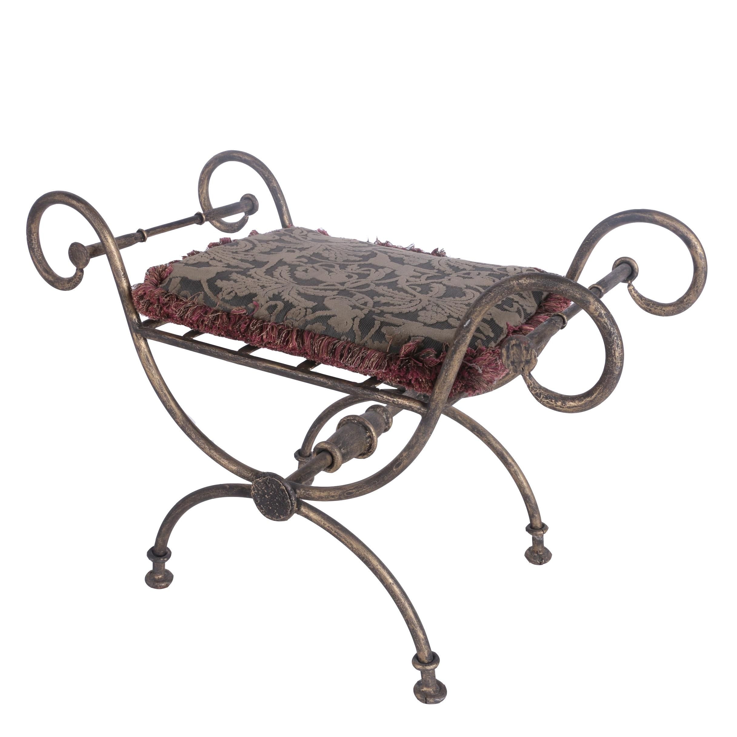 Metal Curule Style Stool with Cushion
