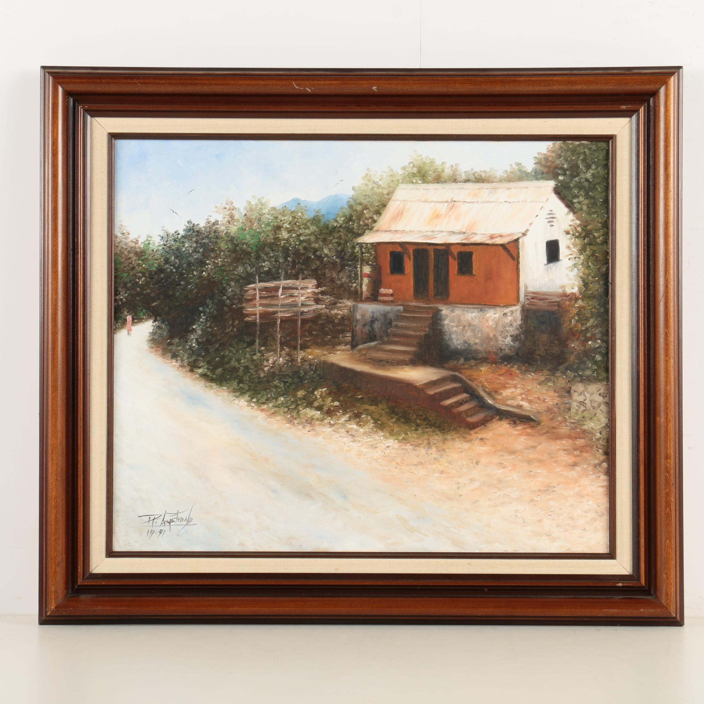 Robert Armstrong Oil Painting of a Shack