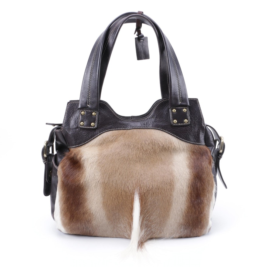 Diane Gail Springbok Fur and Leather Handbag