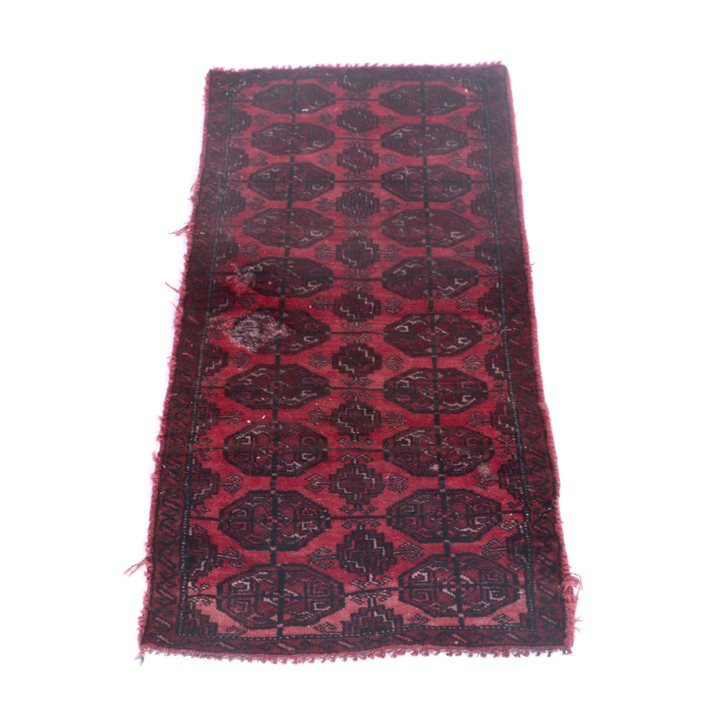 Semi-Antique Hand-Knotted Bokhara Wool Carpet Runner