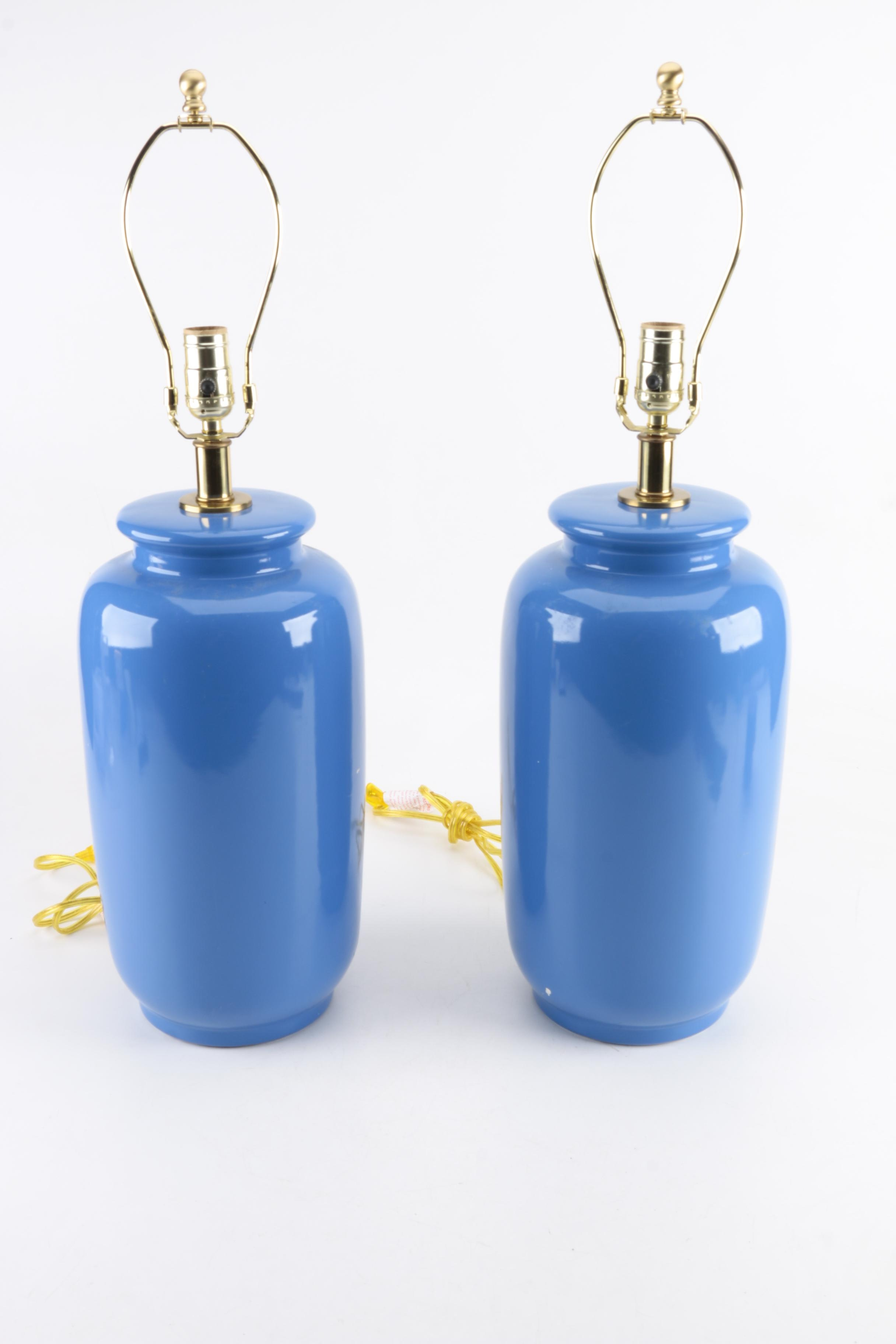 Pair of Blue Ceramic Table Lamps