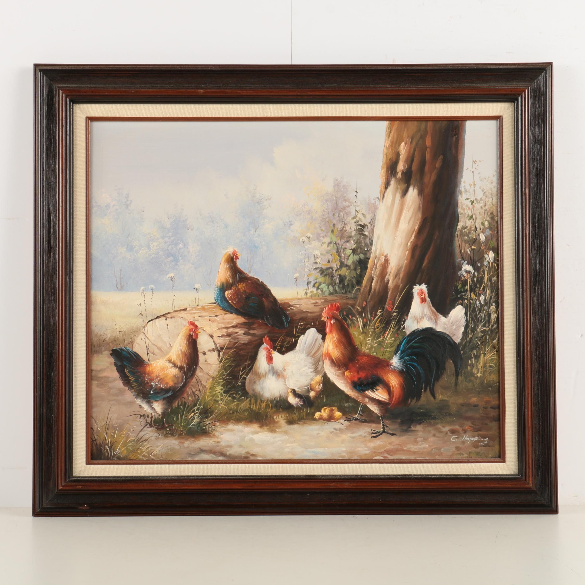 C. Hopping Oil Painting on Canvas of Colorful Chickens in a Country Landscape