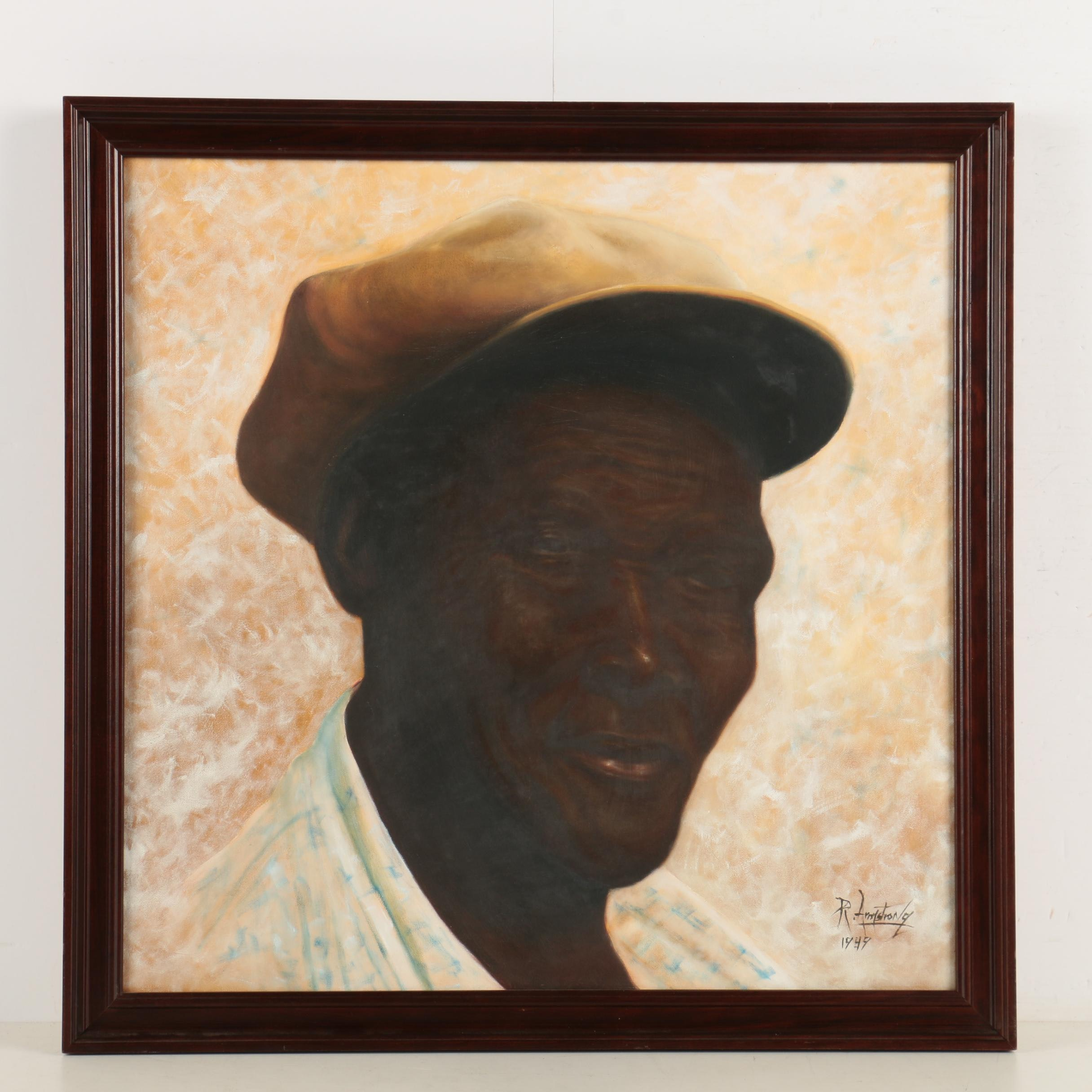 R. Armstrong Oil On Canvas Portrait of a Man in a Tan Hat