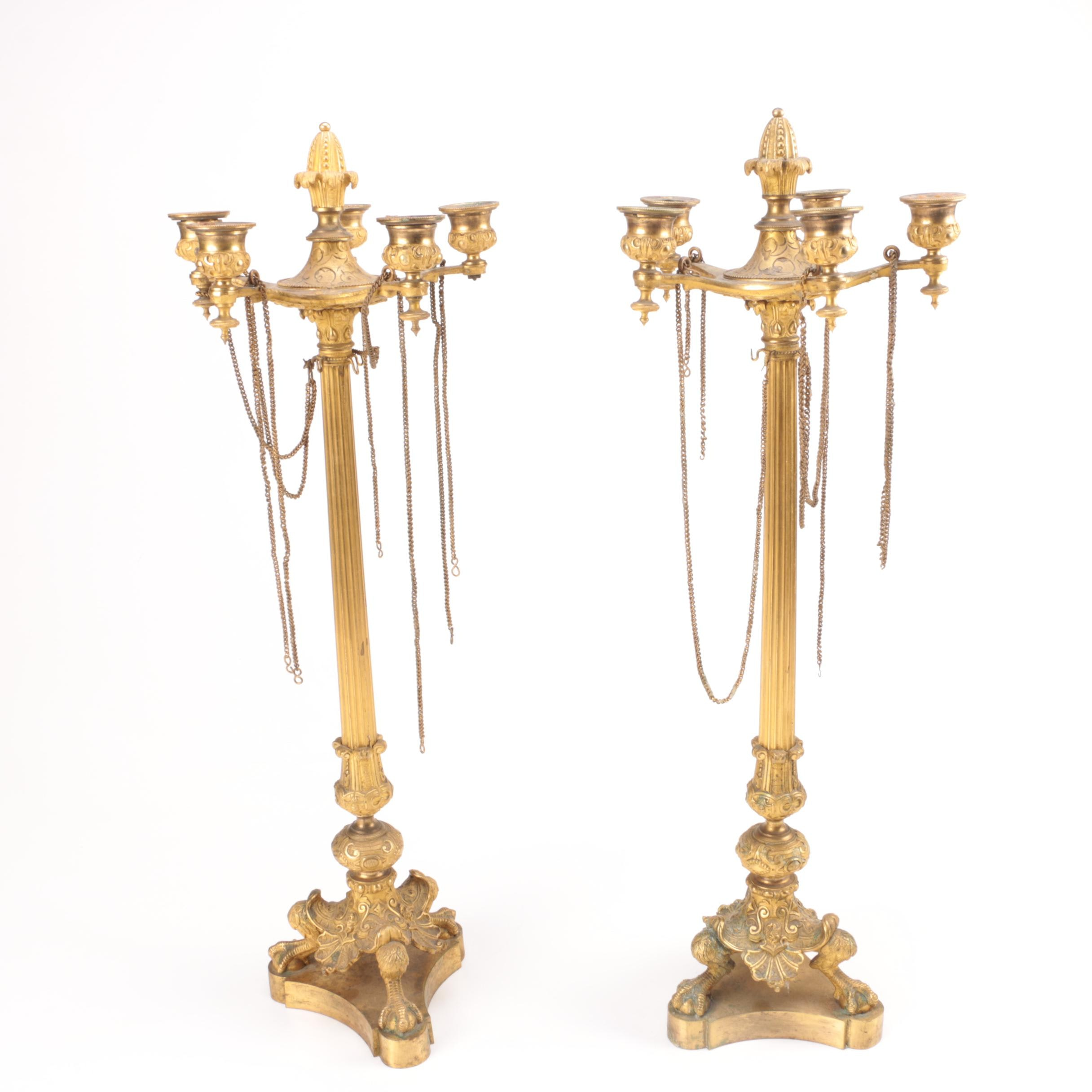 Empire-Style Brass Candleholders