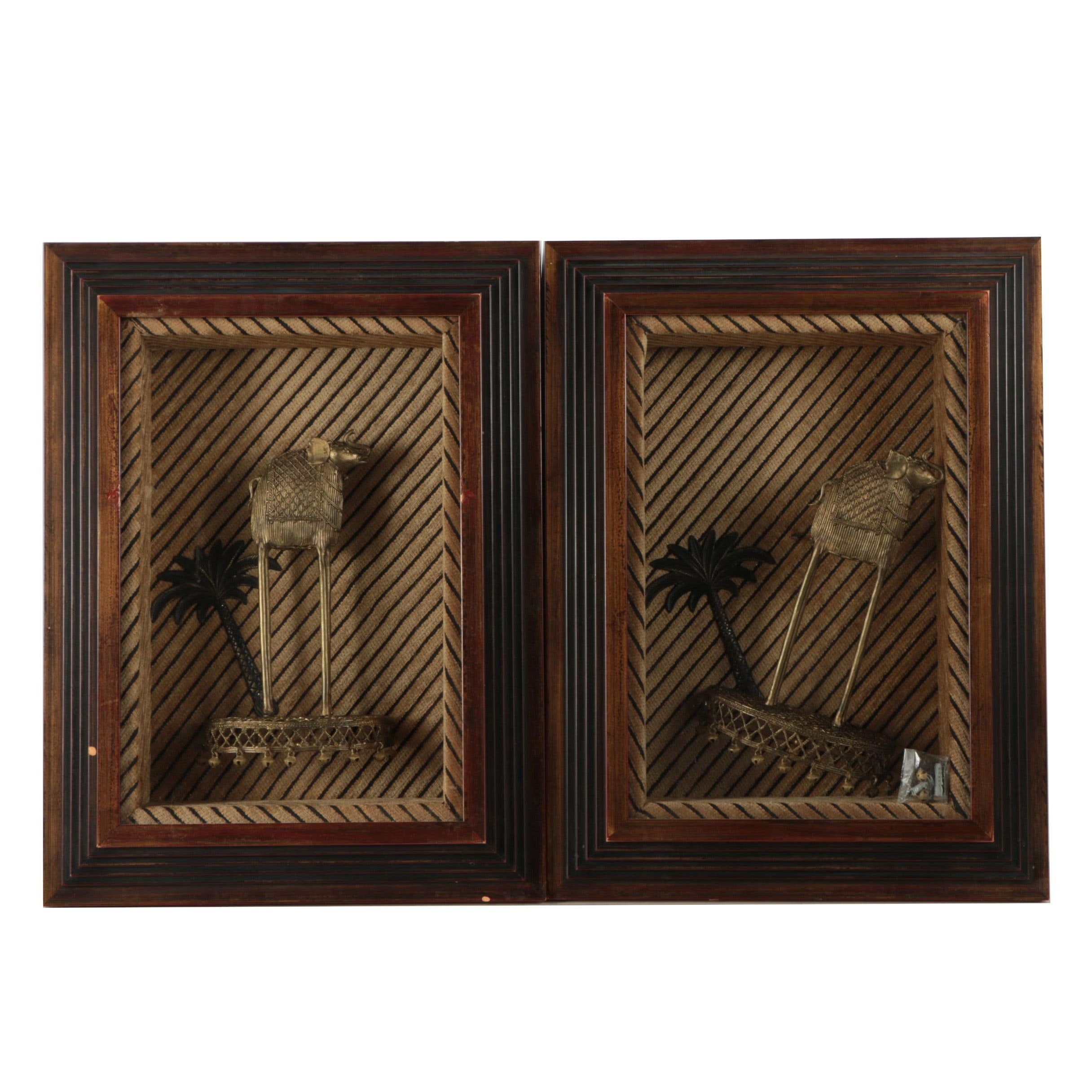 Pair of John Richard Framed Metal Elephants with Palm Trees