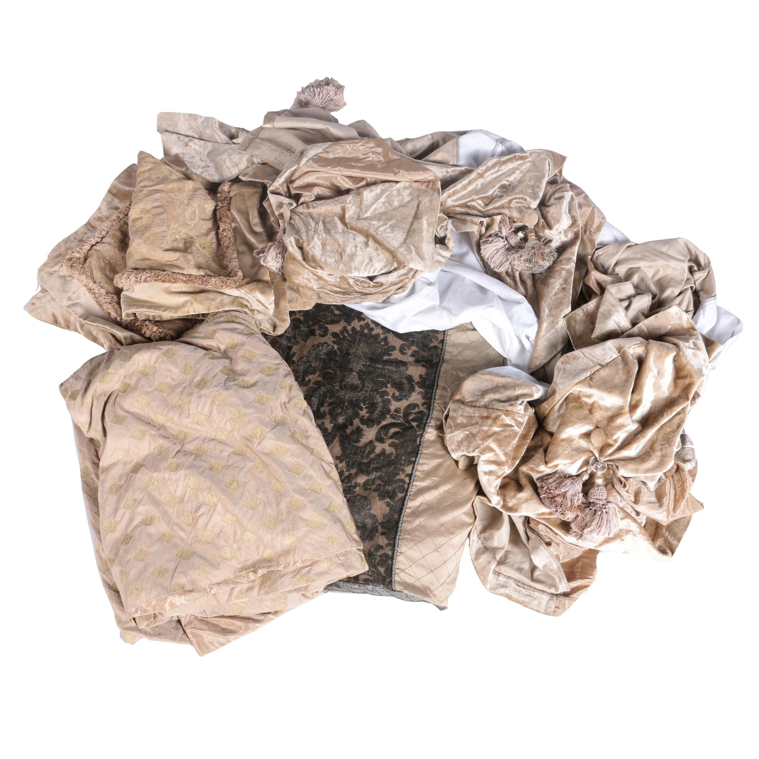 Collection of Gold Comforters and Bed Linens