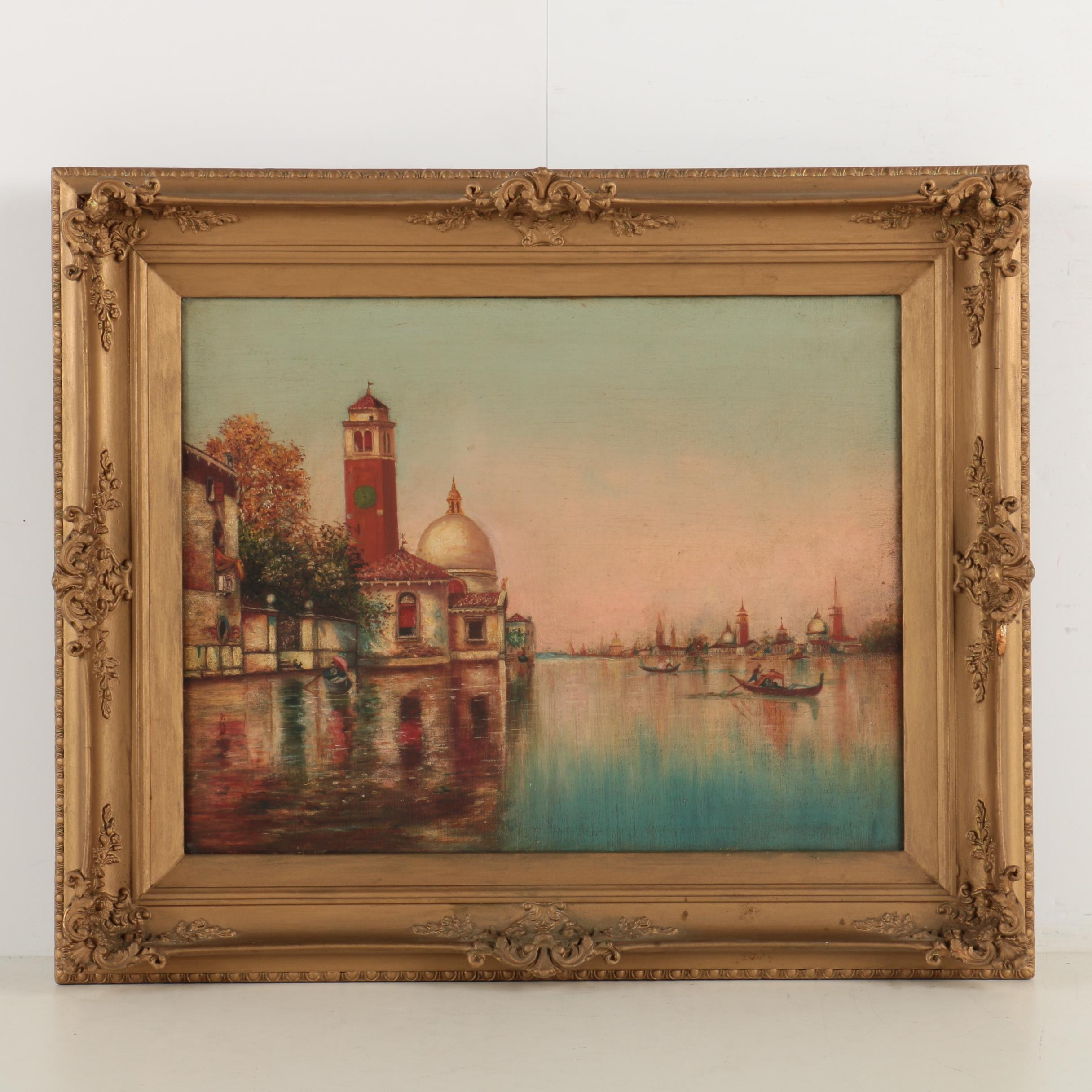 Oil Painting on Canvas of a Waterfront Landscape