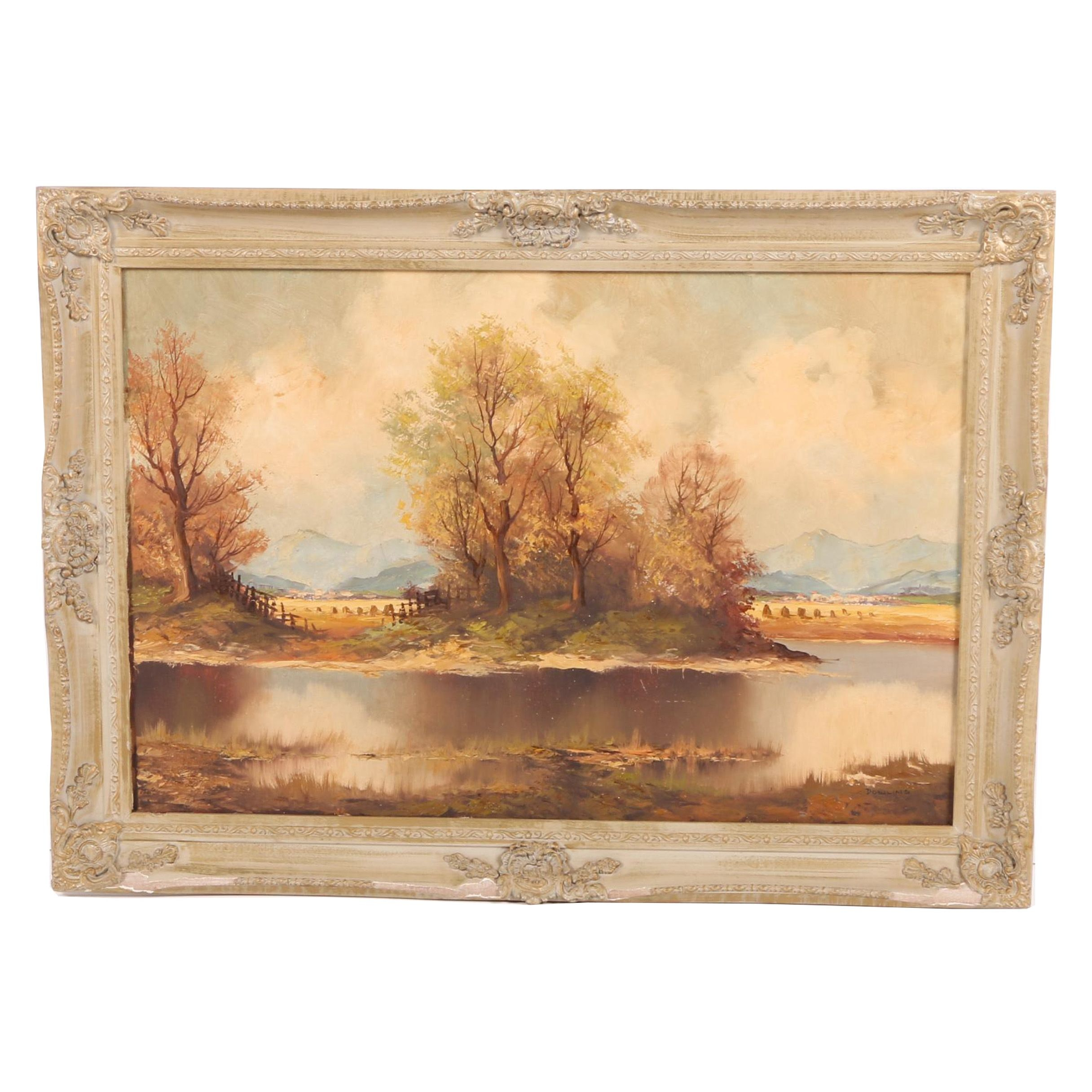 Dowling Oil Painting of a Pond and Fields
