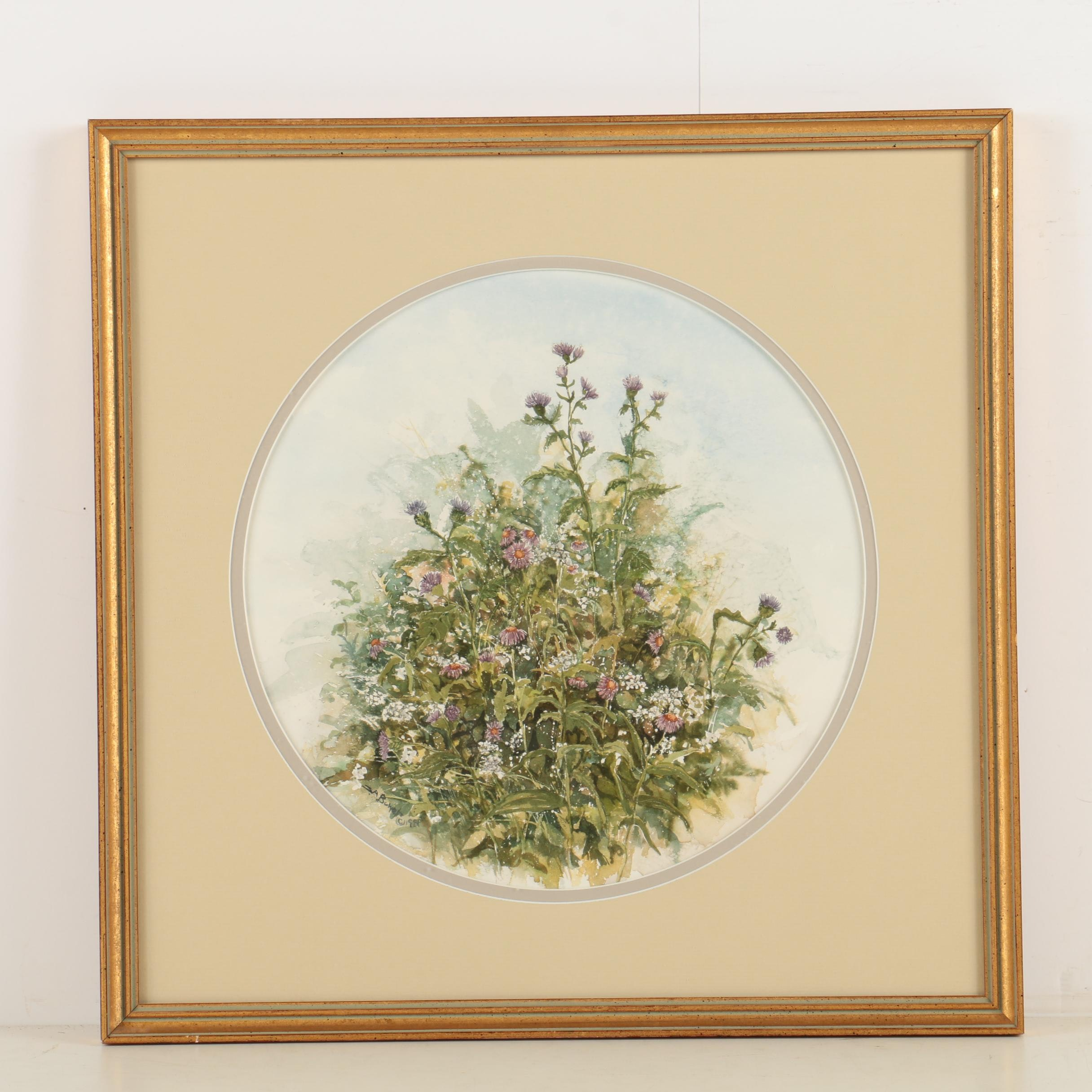 S. A. Bower Original Watercolor of Flowers