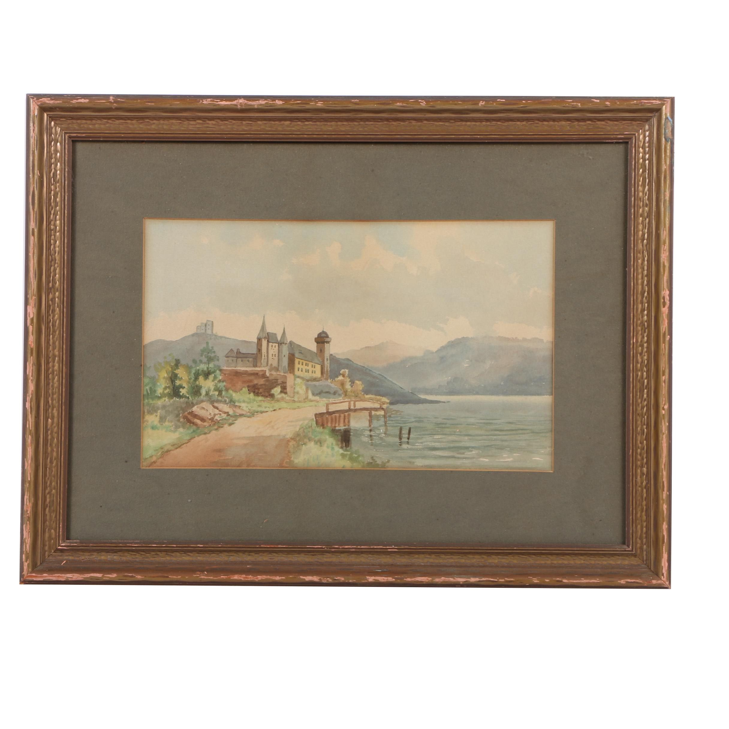 Watercolor on Paper of a Castle by a Lake