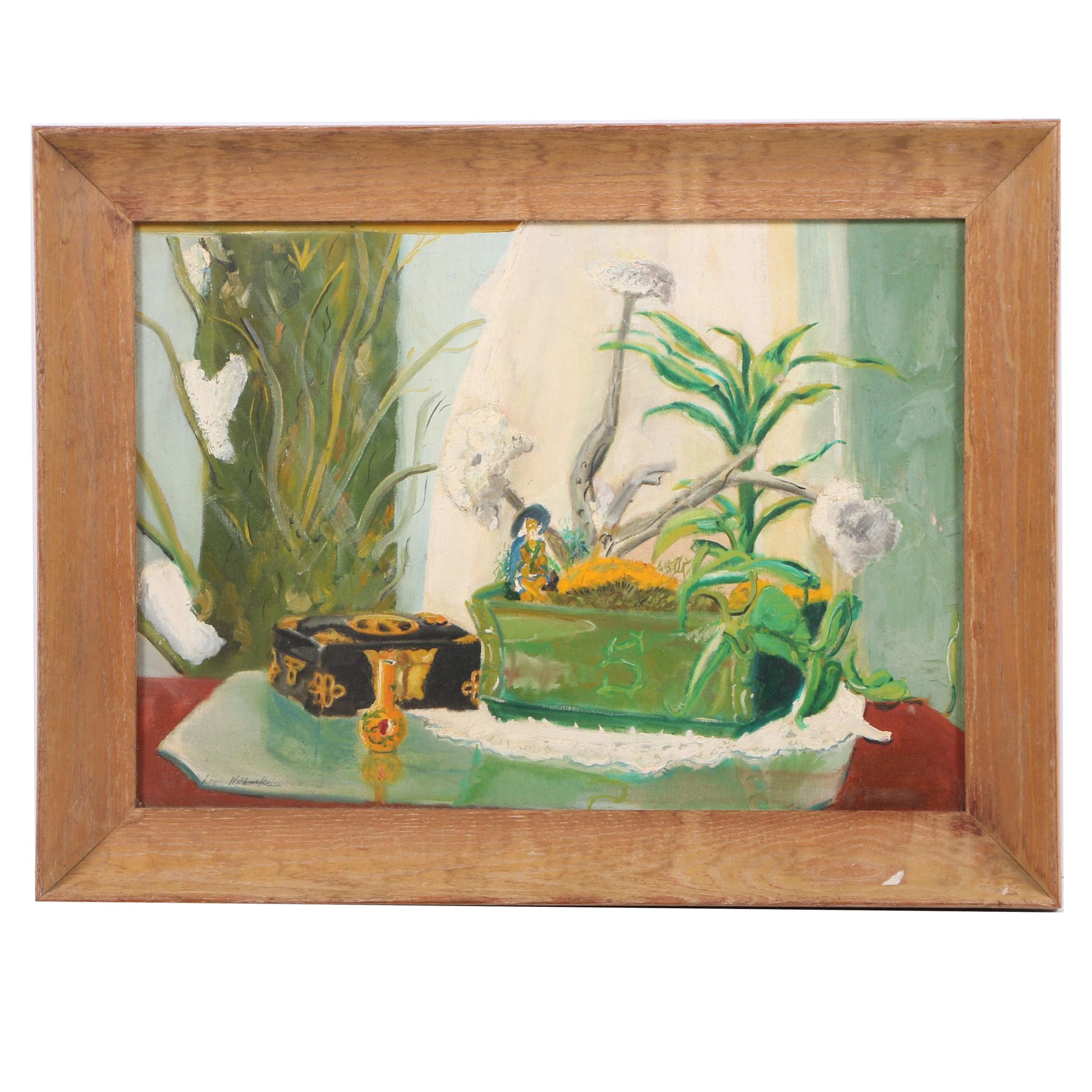 Louis Wolchonok Oil Still Life Painting of Plants and Jewelry Box