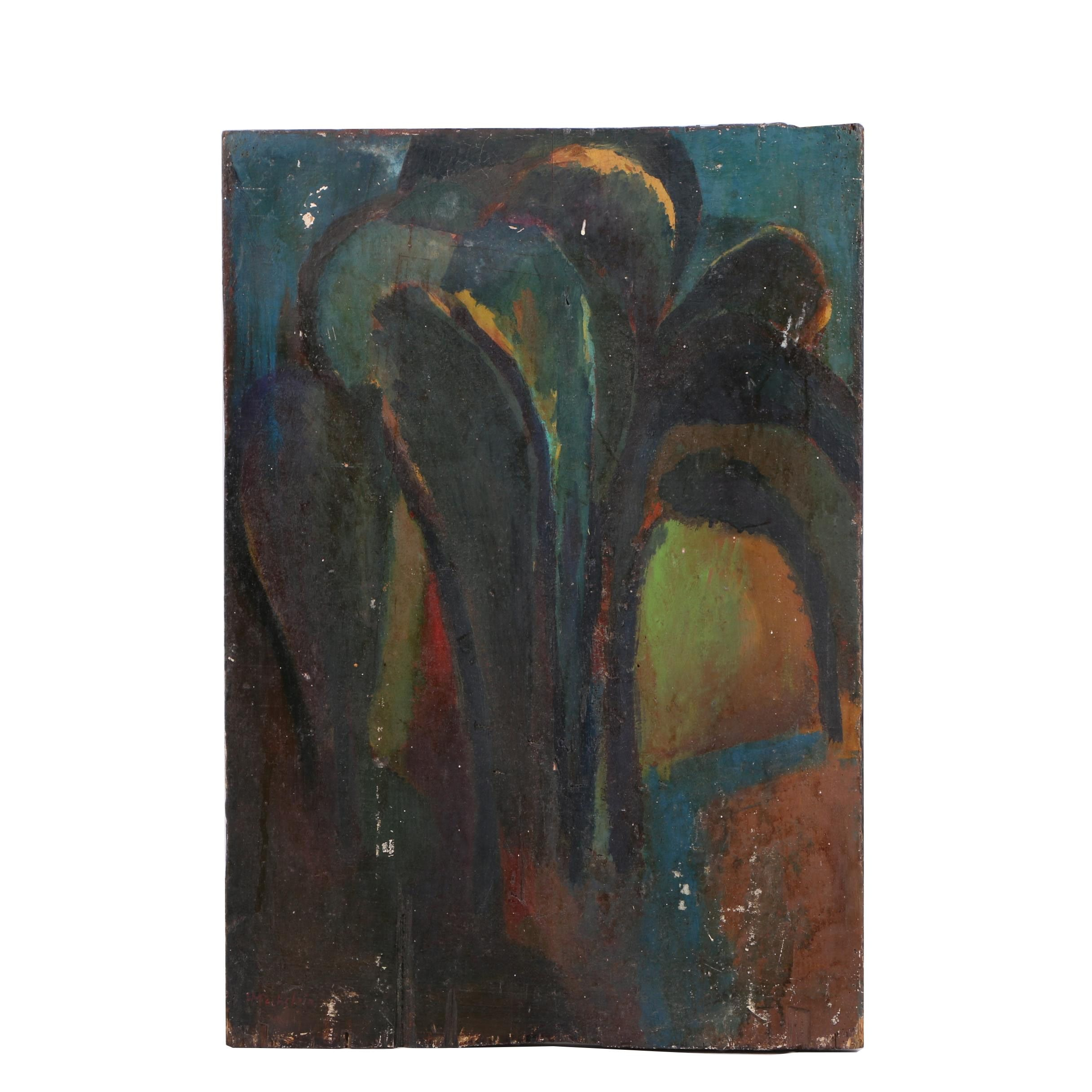 Oil Painting of an Abstracted Landscape in the Manner of Herman Max Pechstein
