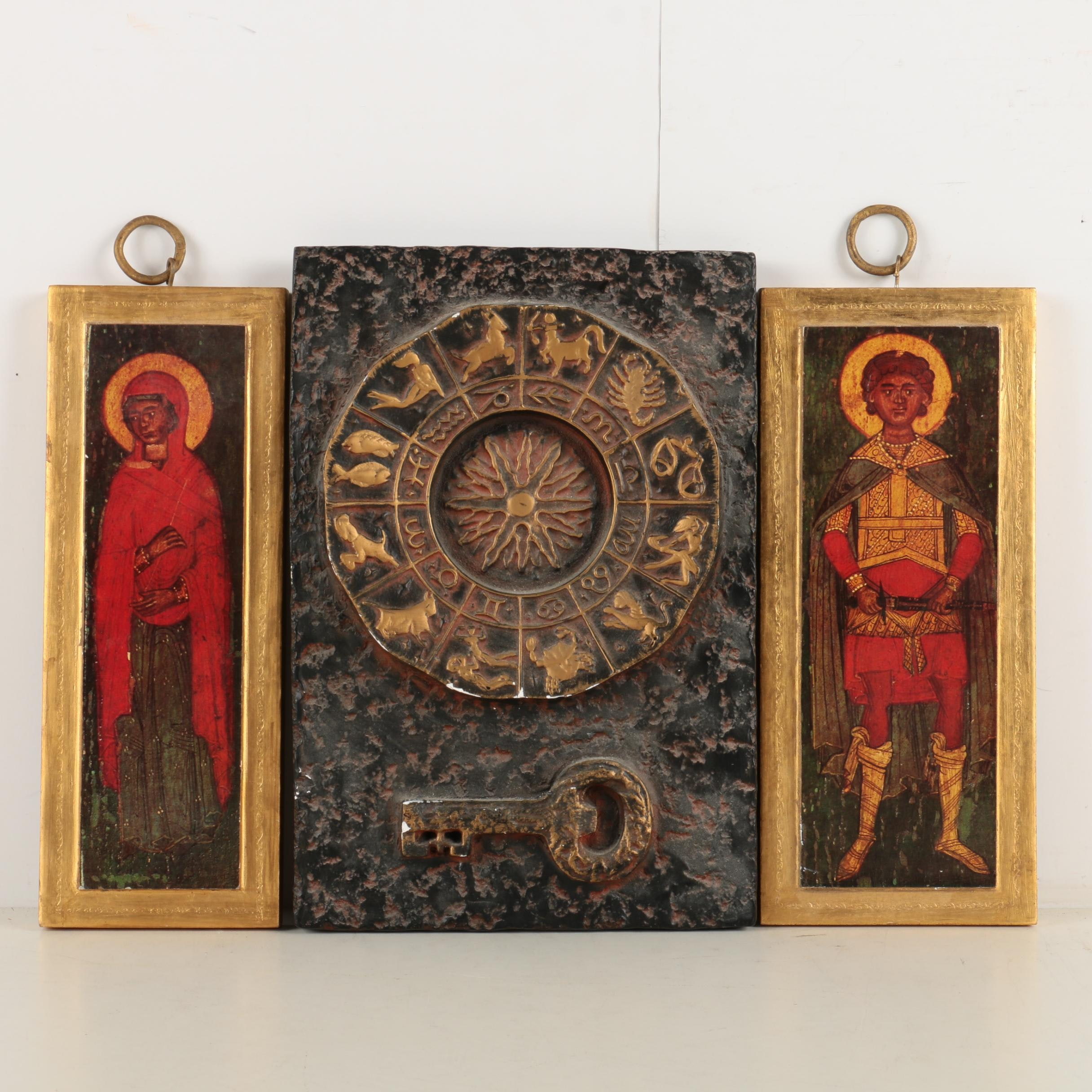 Plaster Astrological Wall Decor and Decorative Icons on Wood