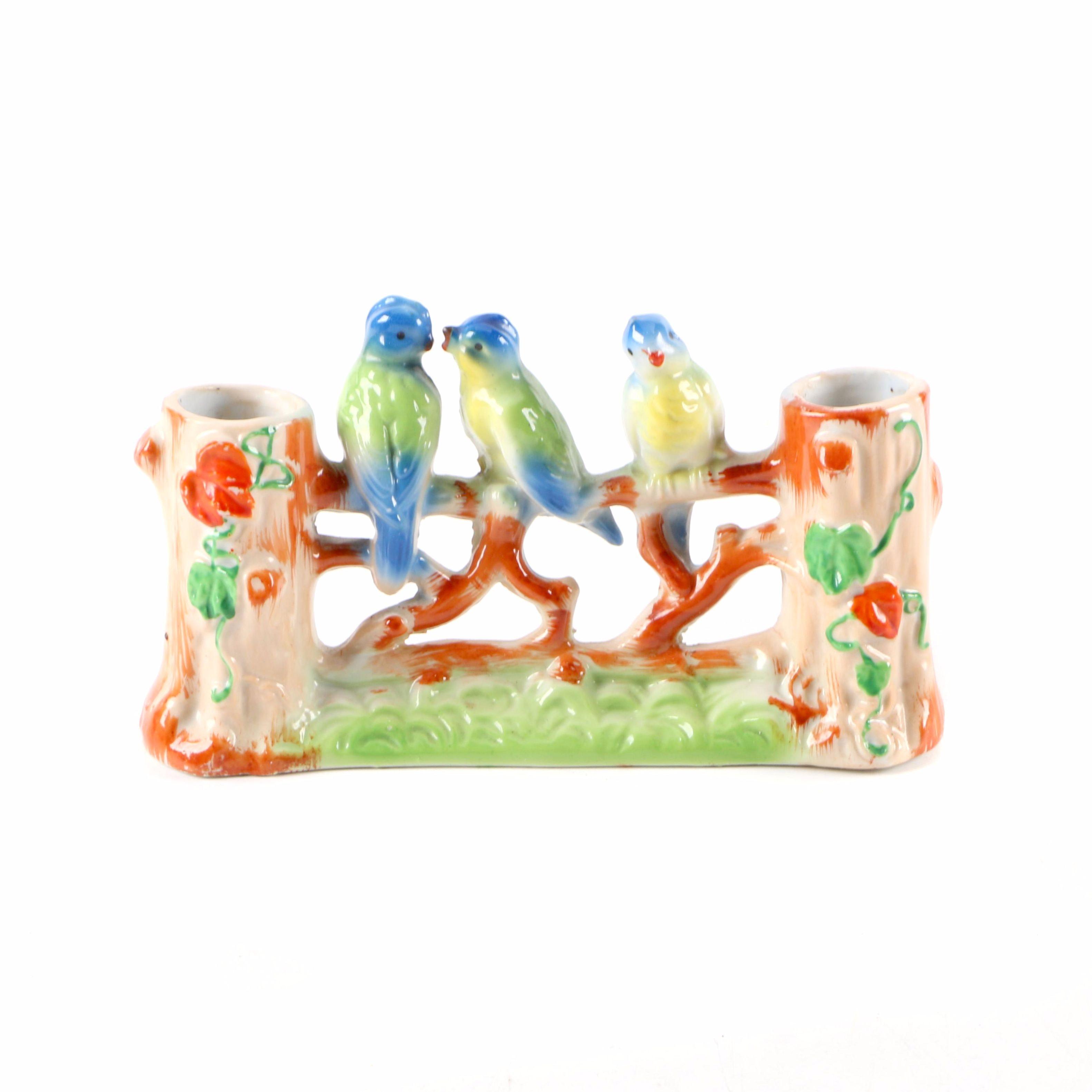 Vintage Japanese Porcelain Songbird Themed Spill Vase