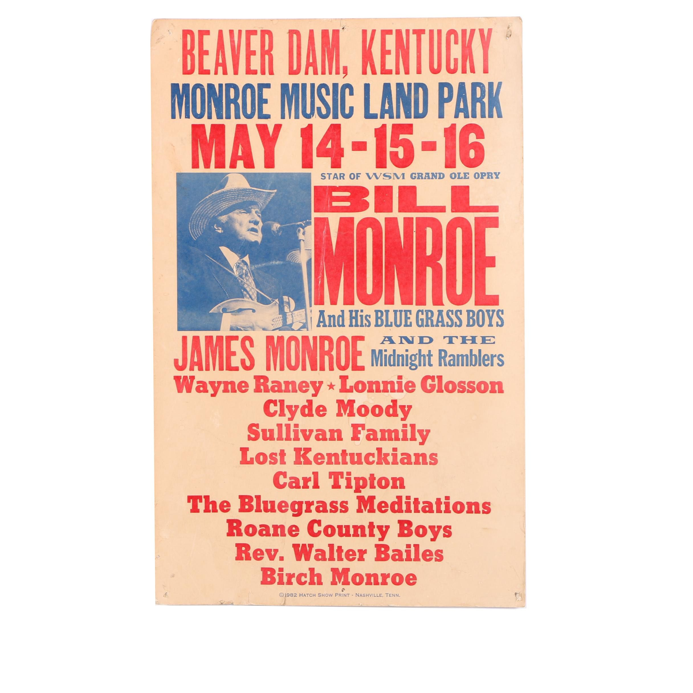 1982 Hatch Show Print Bill Monroe and His Bluegrass Boys Concert Poster