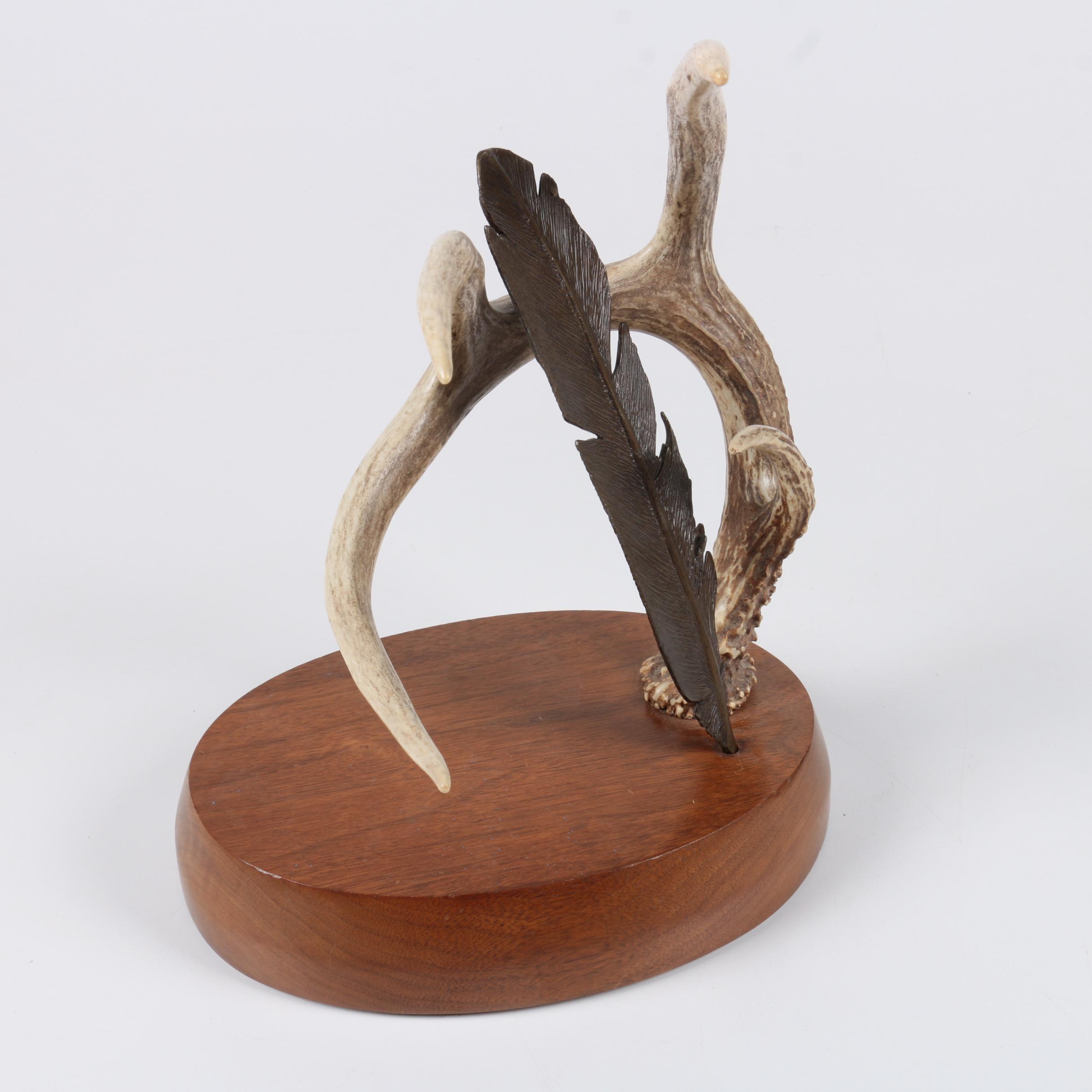 Deer Antler and Metal Feather Sculpture