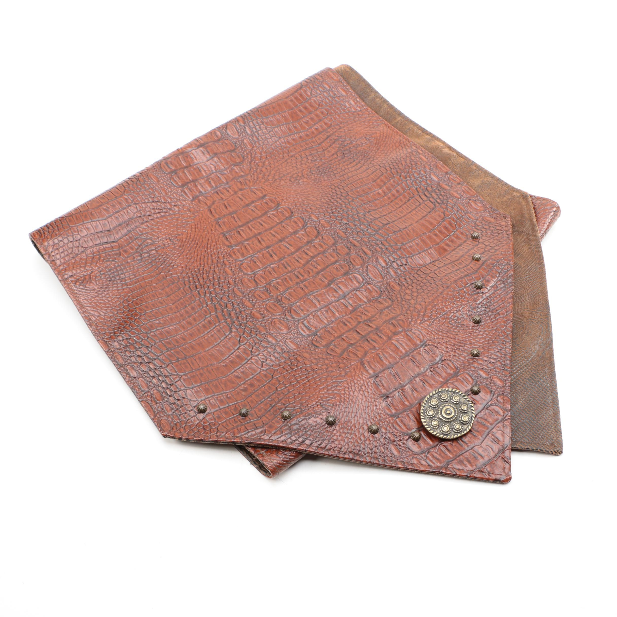 Reptile Embossed Leather Table Runner ...