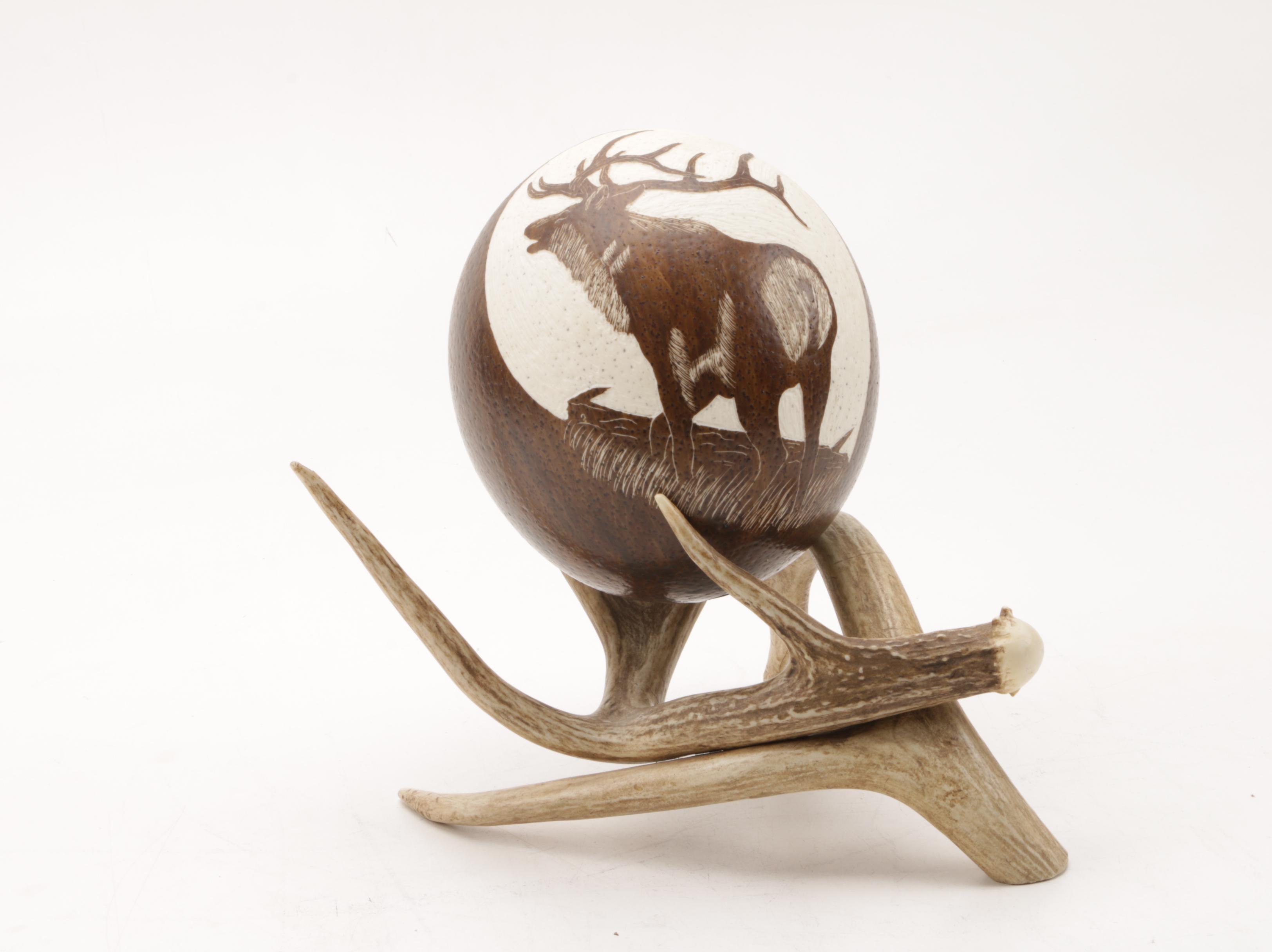 Porcelain Elk Art and Antler Decor