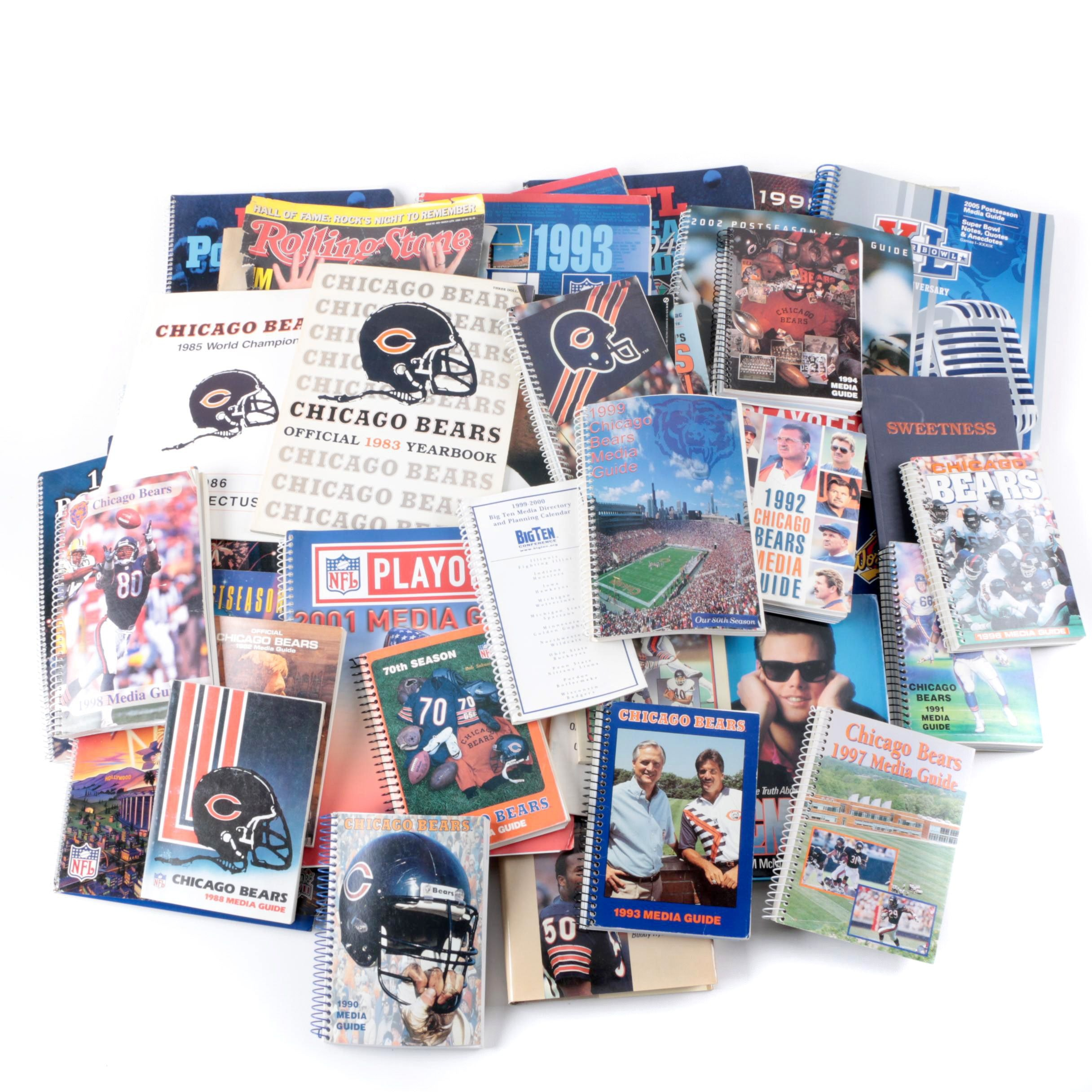 Assorted Chicago Bears Guides, Magazines, and Books