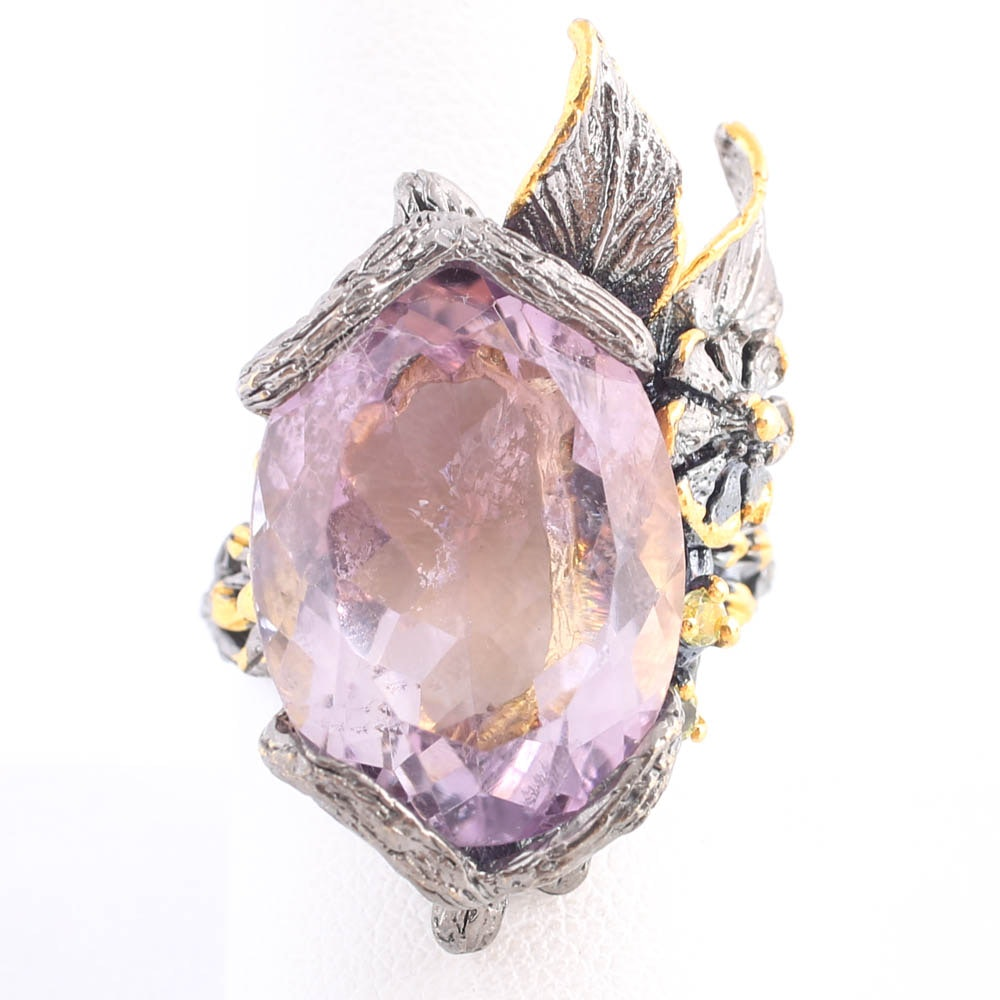 Blackened Sterling Silver 17.55 Carat Amethyst Ring with Citrines