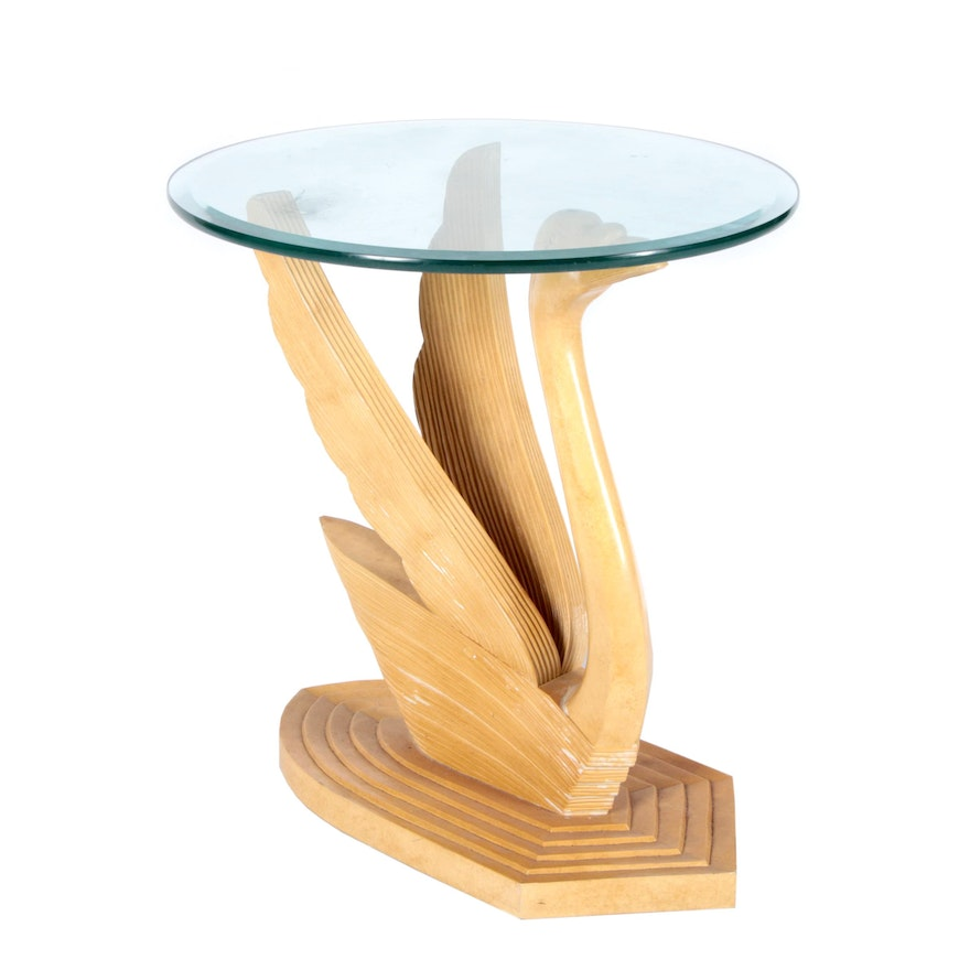 Maple carved swan pedestal glass top table ebth