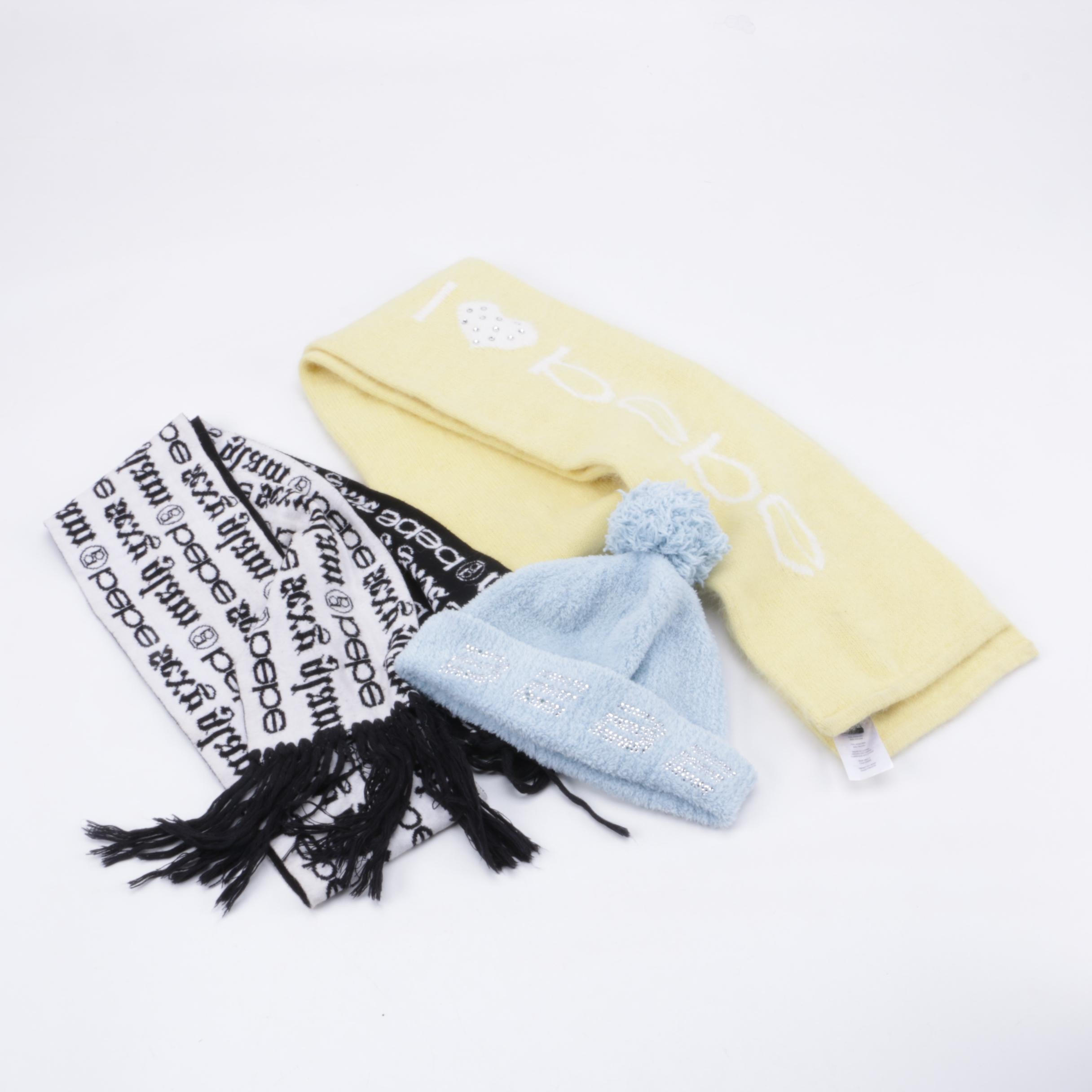Bebe Scarves and Beanie Hat