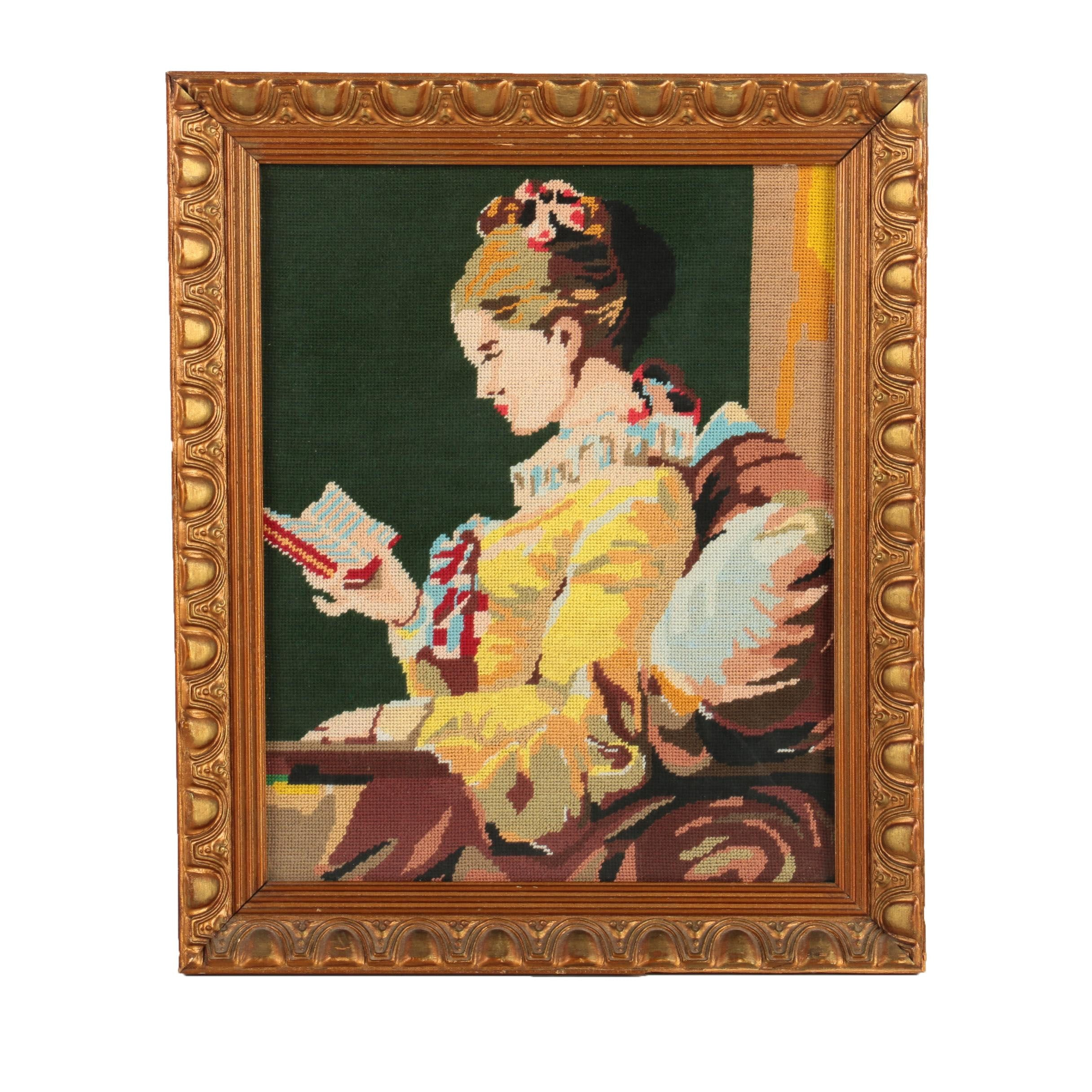 "Embroidery After Jean-Honoré Fragonard ""A Young Girl Reading"""