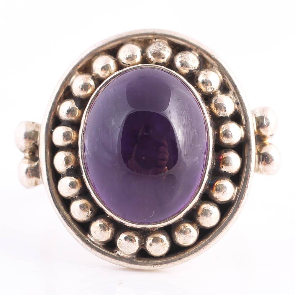 Sterling Silver Bezel Set 1.85 Carat Amethyst Cabochon Ring